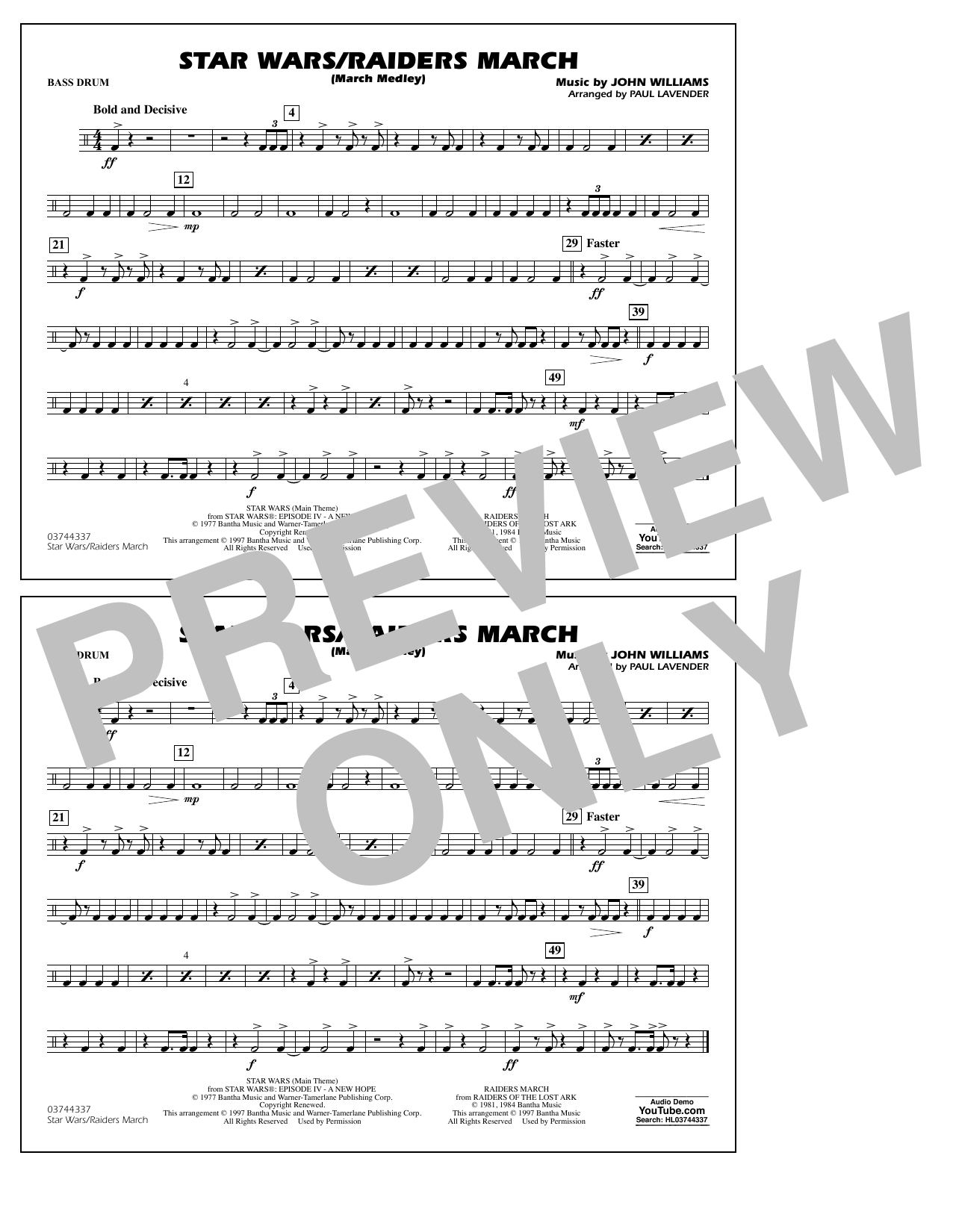 Star Wars/Raiders March - Bass Drum Sheet Music