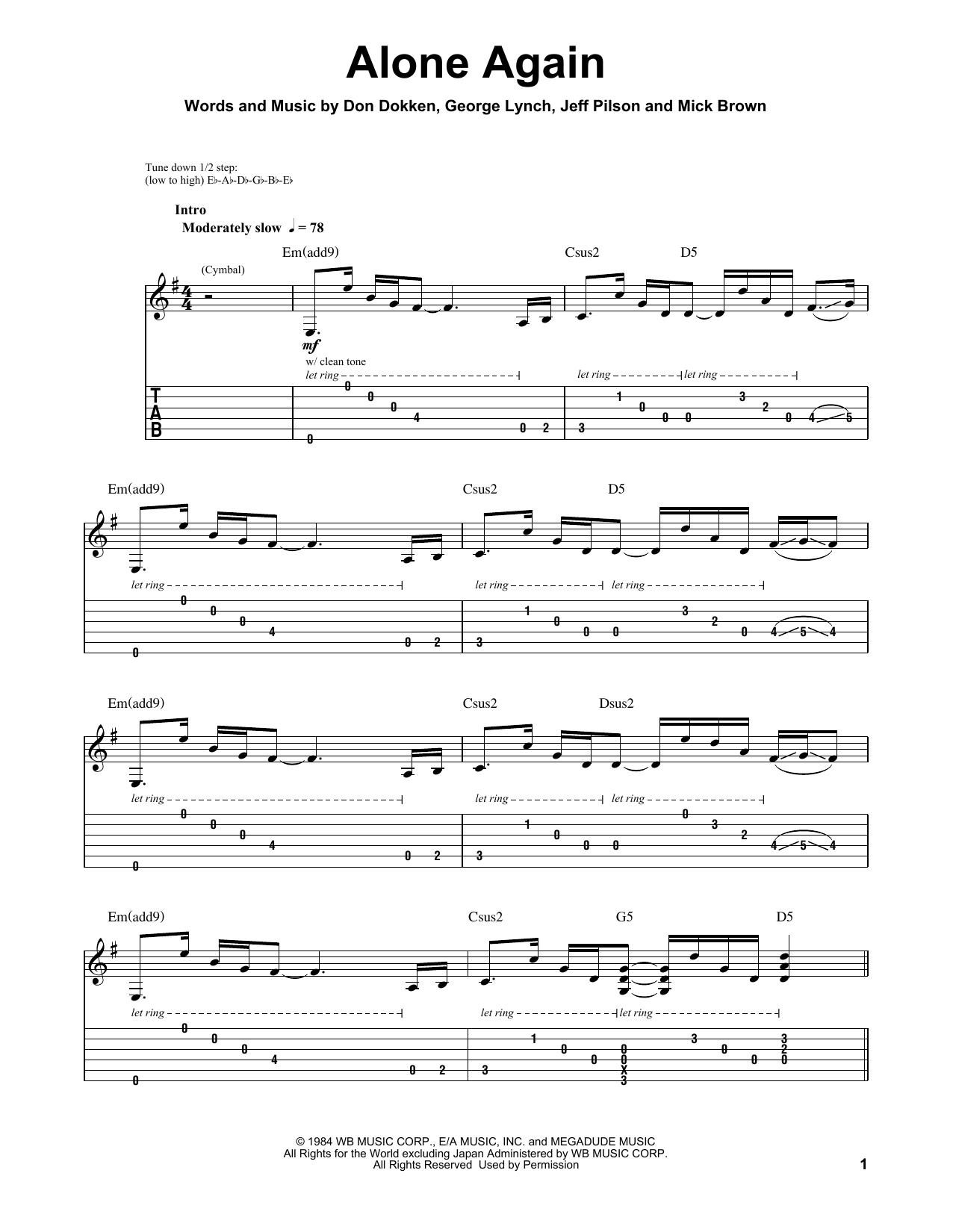 Alone Again (Guitar Tab (Single Guitar))