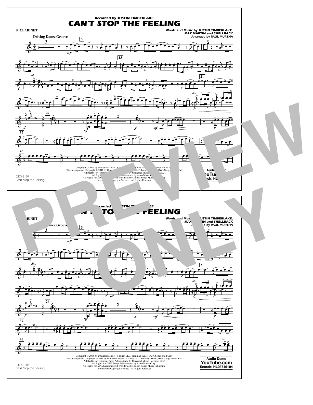 Can't Stop the Feeling (from Trolls) - Bb Clarinet Sheet Music