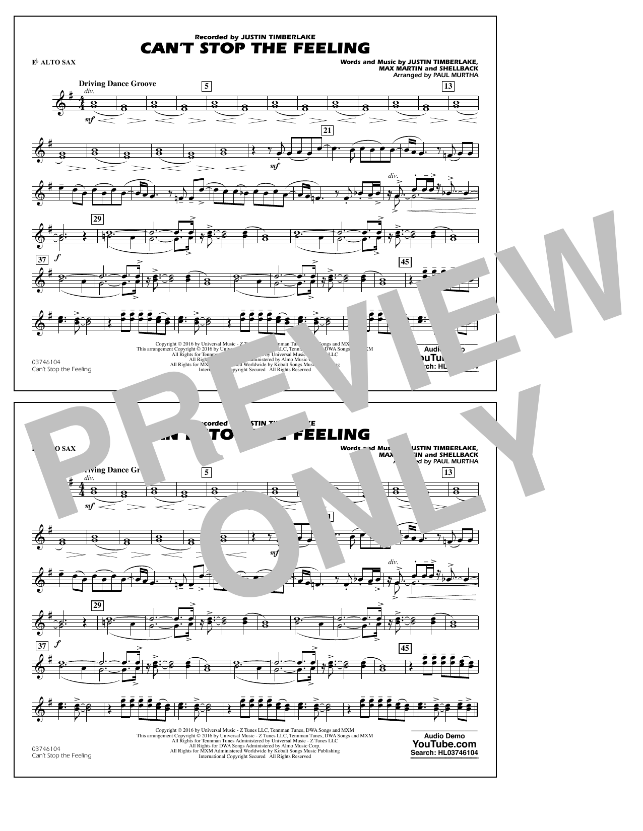 Can't Stop the Feeling (from Trolls) - Eb Alto Sax Sheet Music