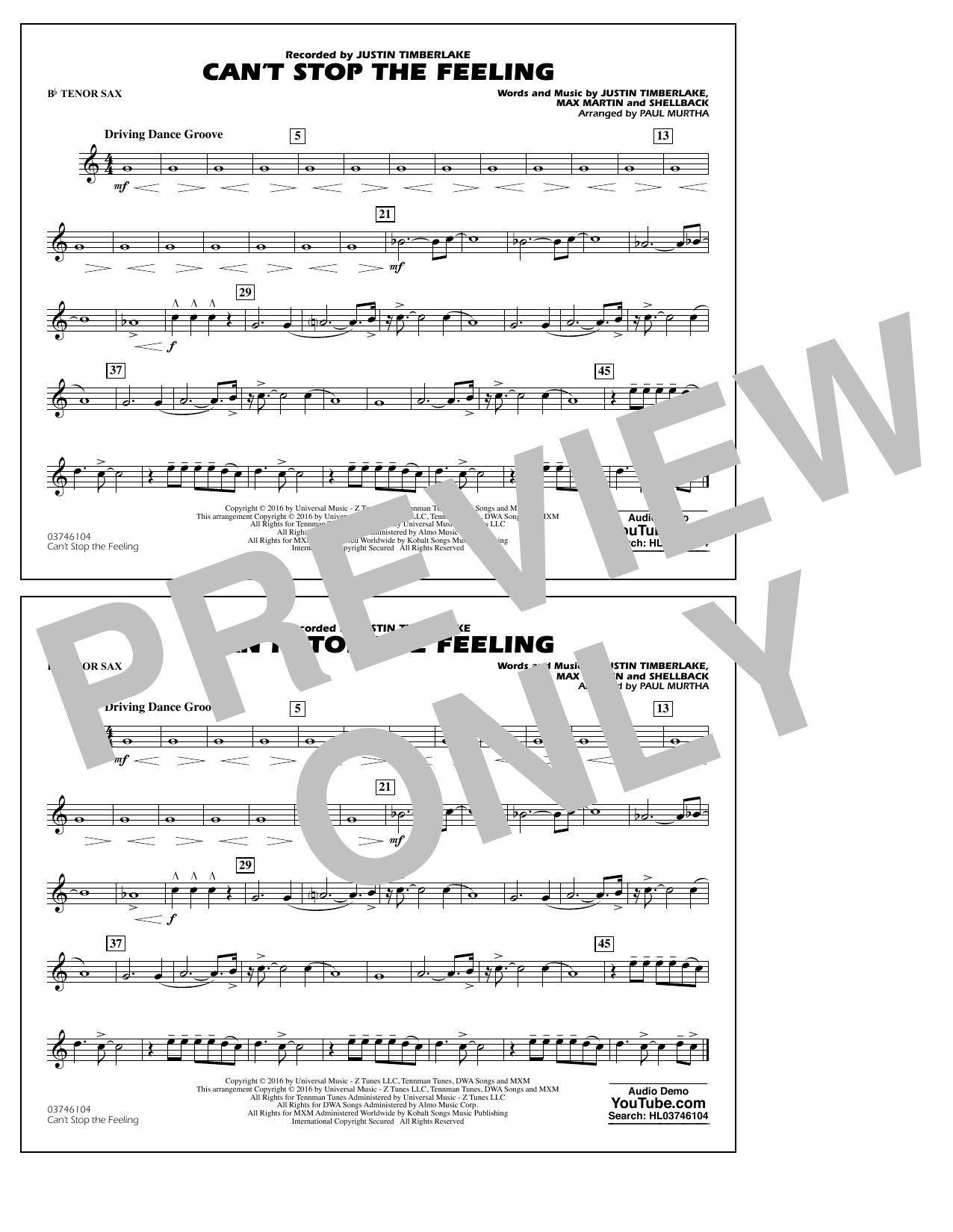 Can't Stop the Feeling (from Trolls) - Bb Tenor Sax Sheet Music