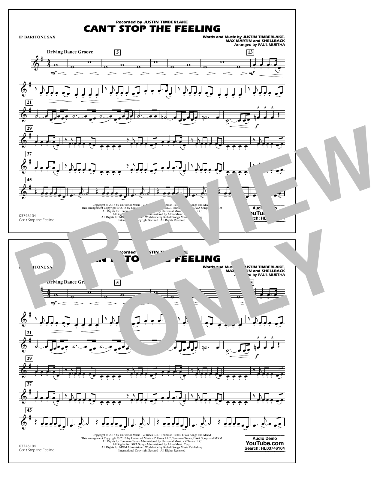 Can't Stop the Feeling (from Trolls) - Eb Baritone Sax - Sheet Music