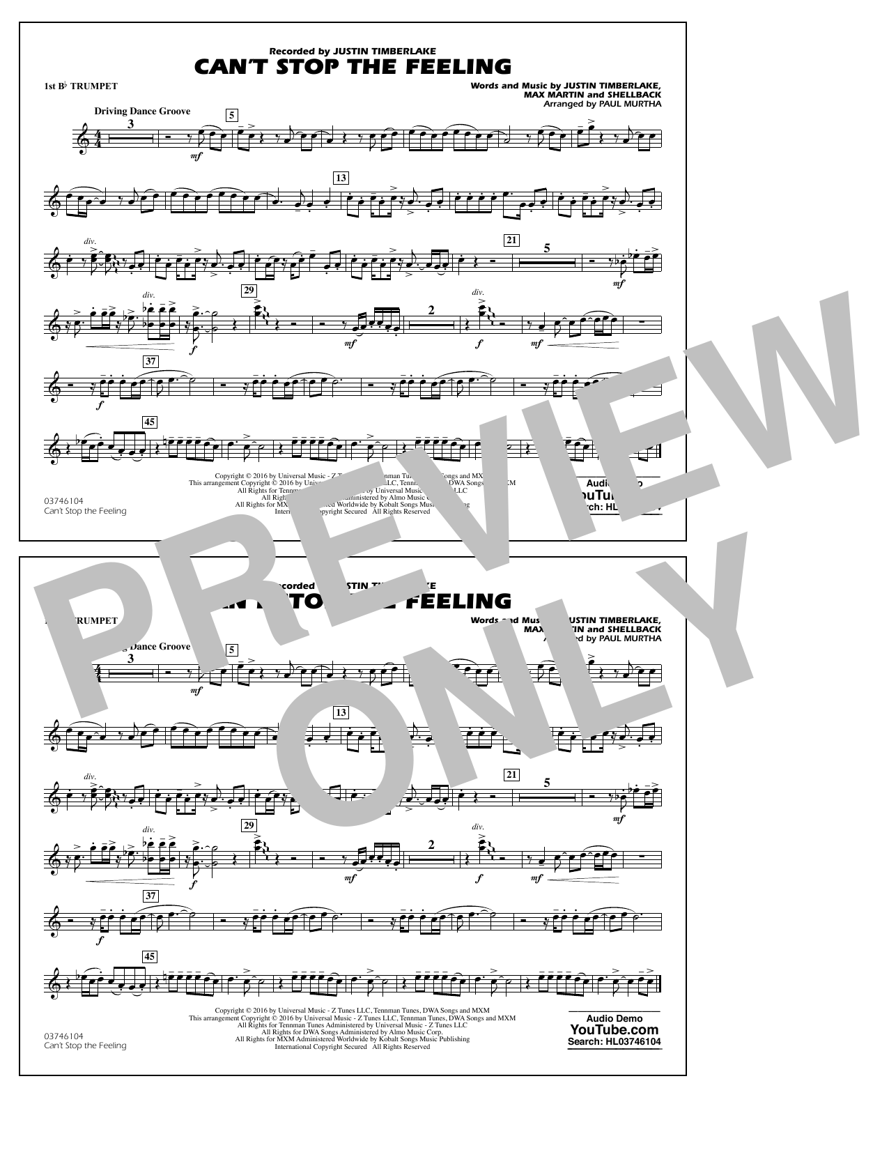Can't Stop the Feeling (from Trolls) - 1st Bb Trumpet Sheet Music