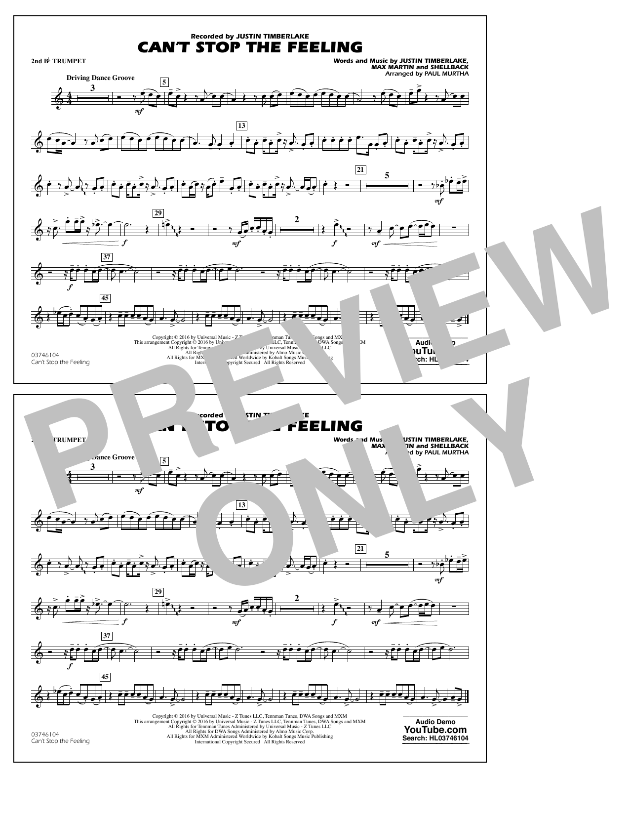 Can't Stop the Feeling (from Trolls) - 2nd Bb Trumpet Sheet Music