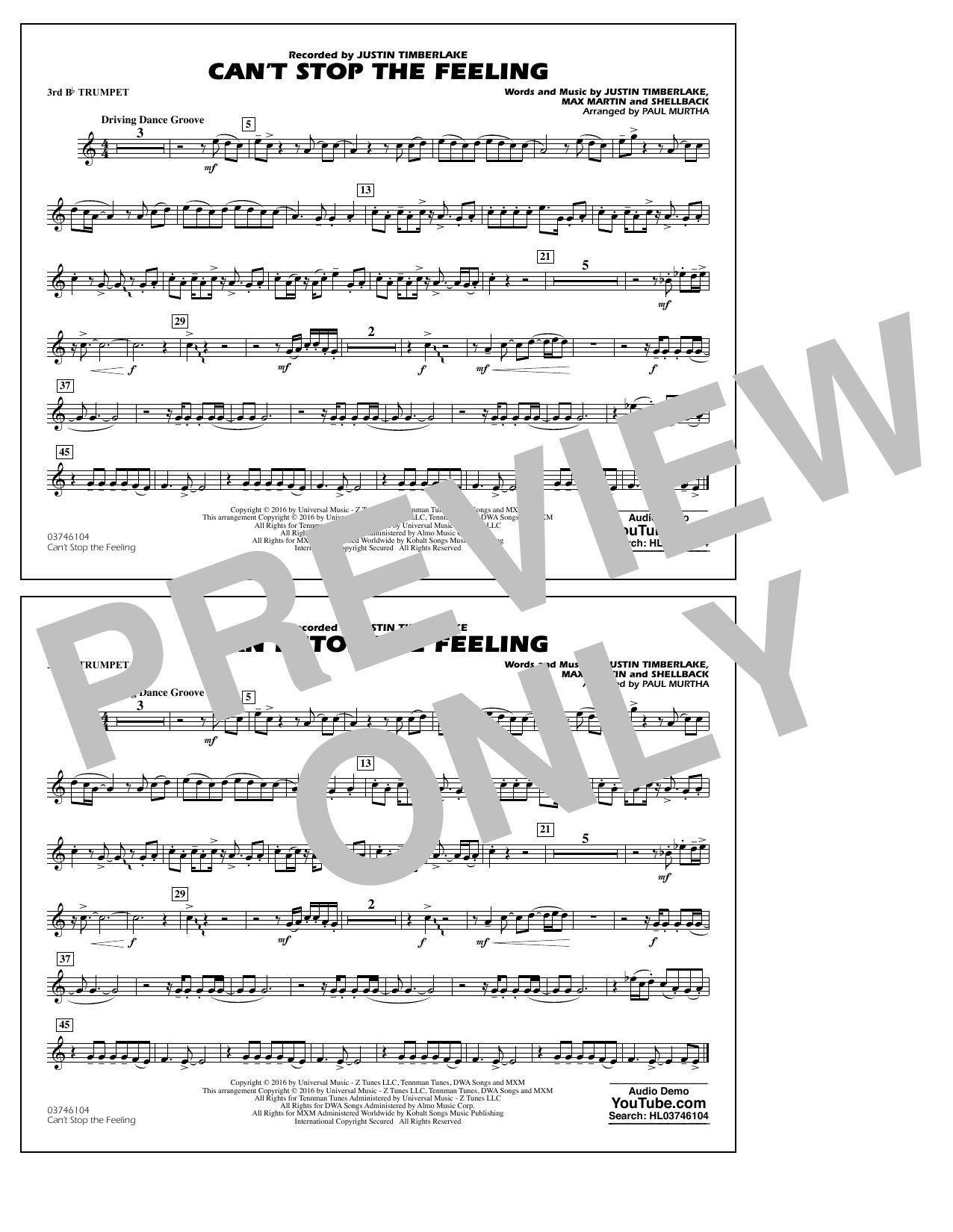 Can't Stop the Feeling (from Trolls) - 3rd Bb Trumpet Sheet Music