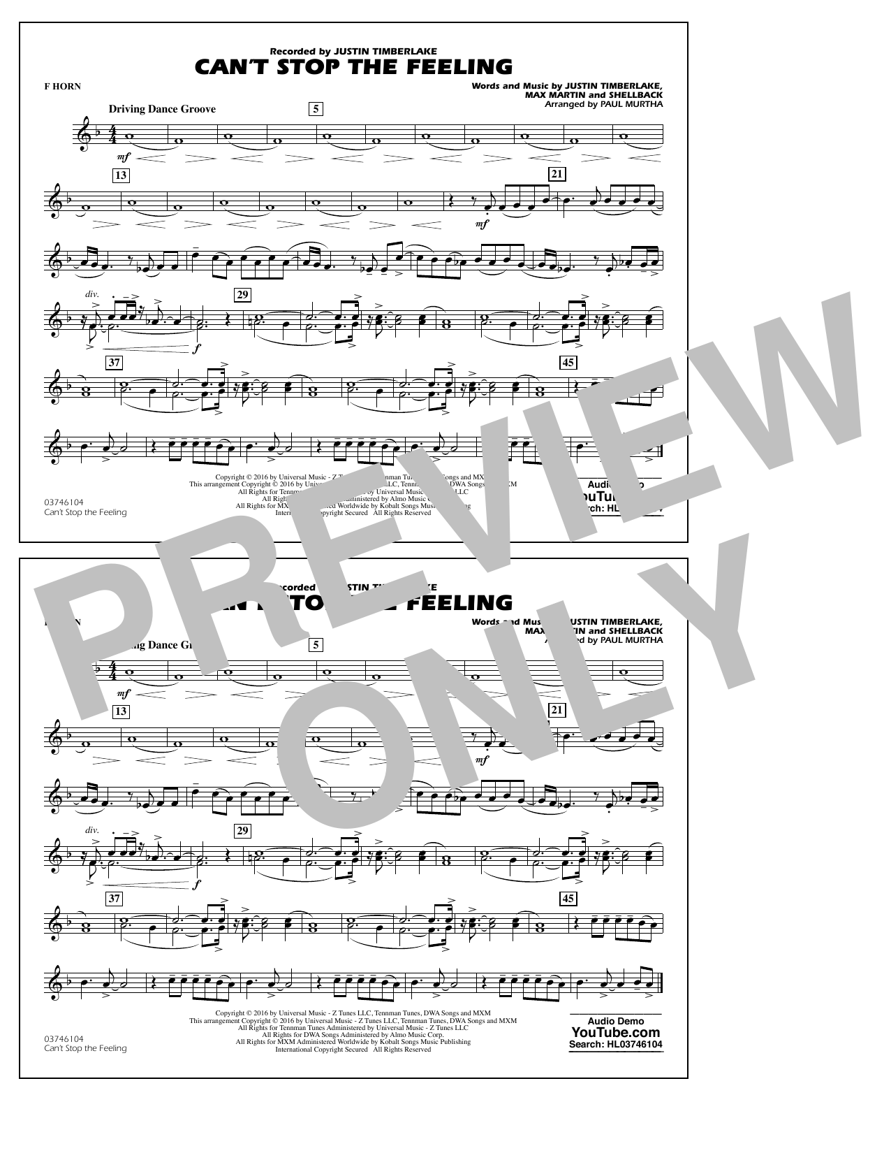 Can't Stop the Feeling (from Trolls) - F Horn Sheet Music