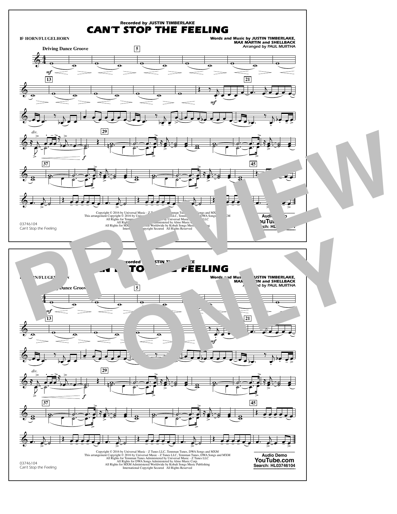 Can't Stop the Feeling (from Trolls) - Bb Horn/Flugelhorn Sheet Music