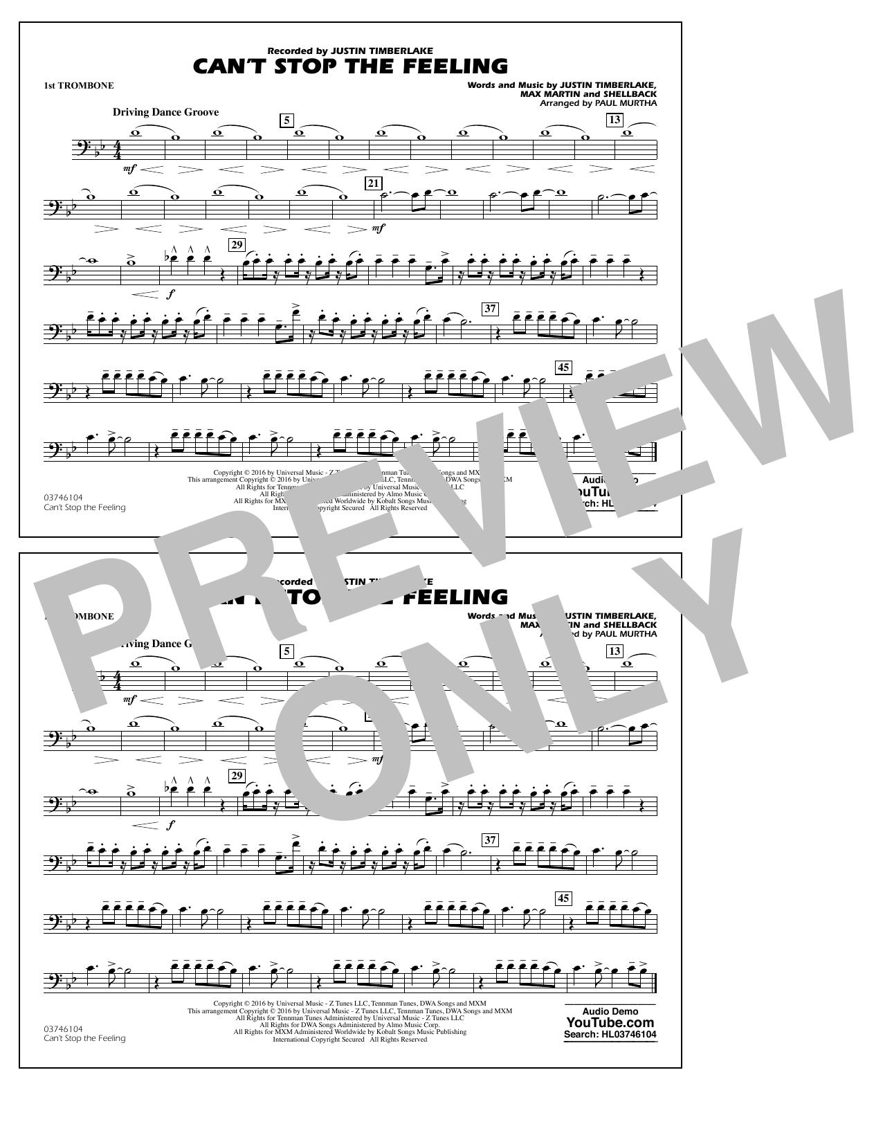 Can't Stop the Feeling (from Trolls) - 1st Trombone Sheet Music
