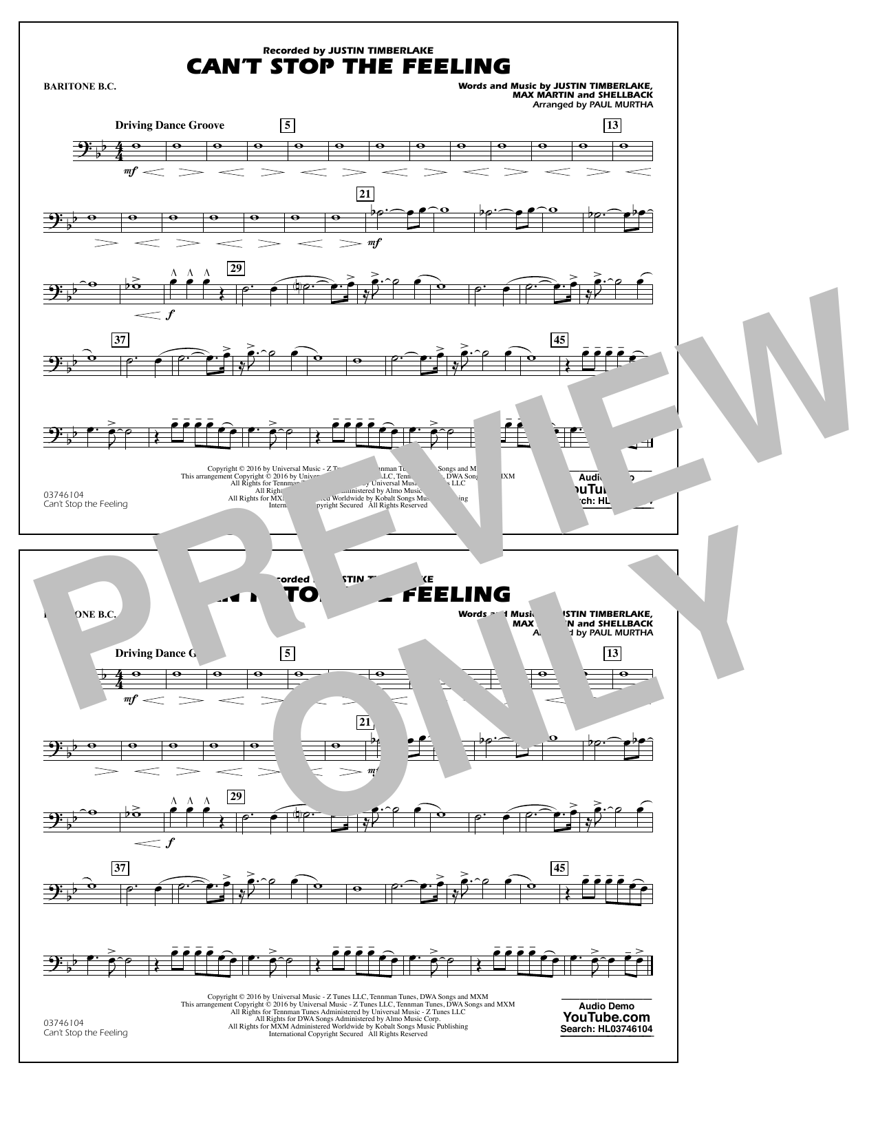 Can't Stop the Feeling (from Trolls) - Baritone B.C. Sheet Music