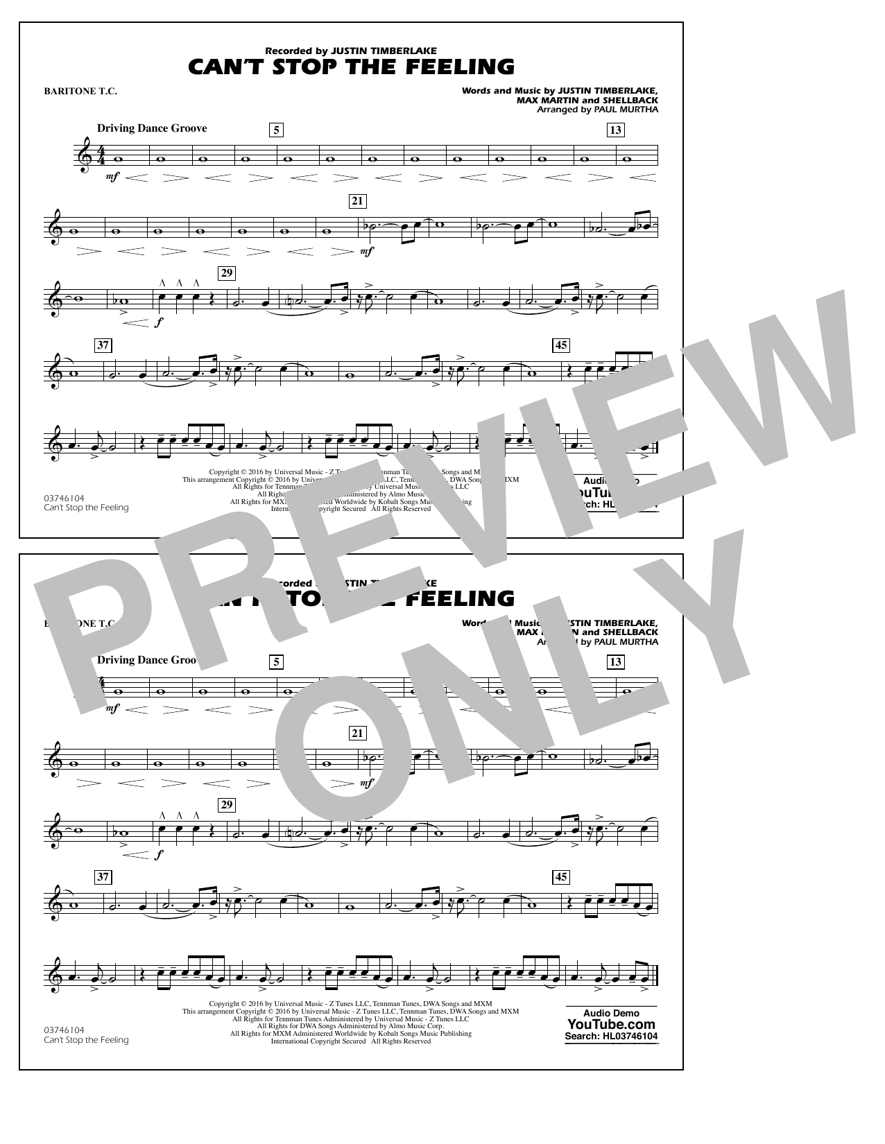 Can't Stop the Feeling (from Trolls) - Baritone T.C. Sheet Music