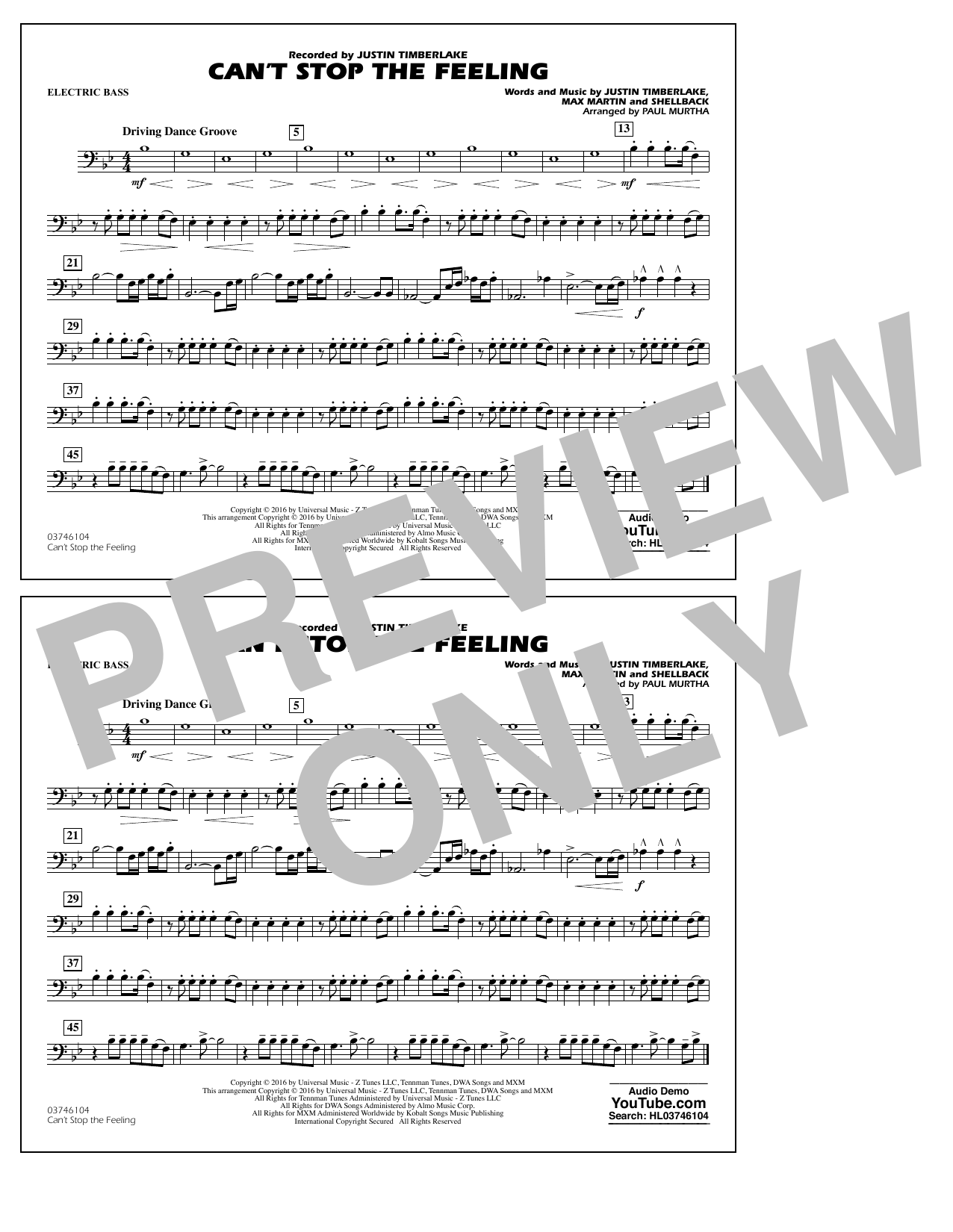 Can't Stop the Feeling (from Trolls) - Electric Bass Sheet Music