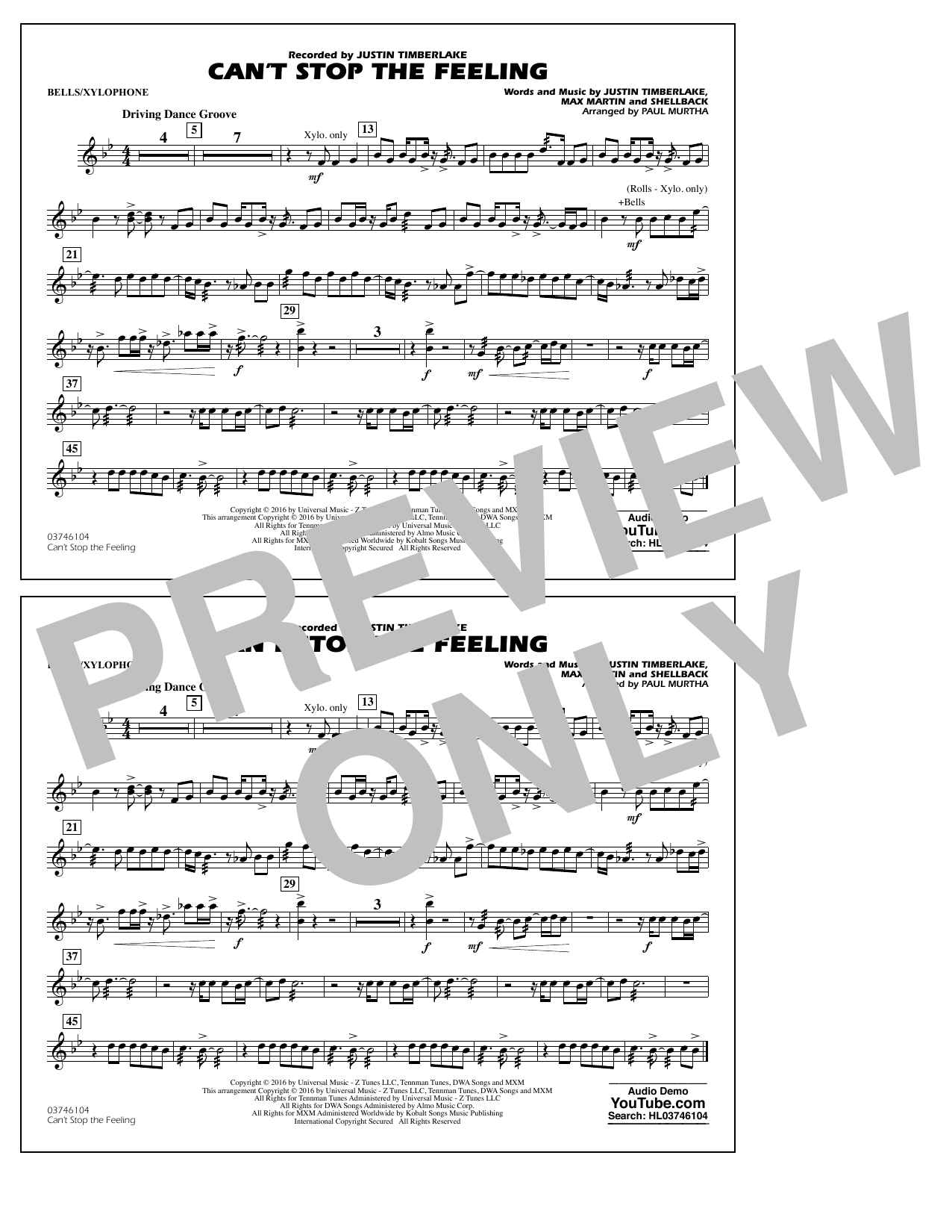 Can't Stop the Feeling (from Trolls) - Bells/Xylophone Sheet Music