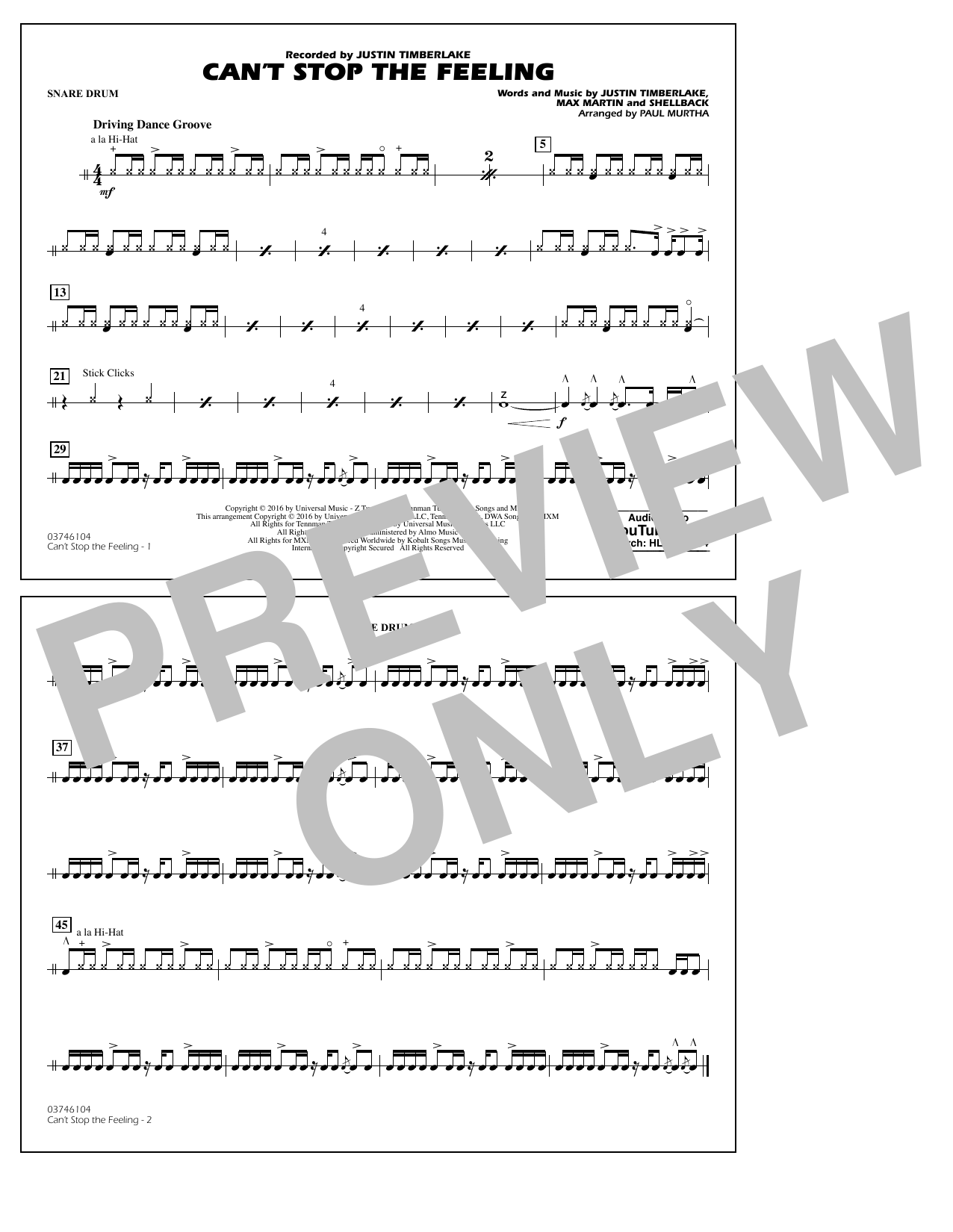 Can't Stop the Feeling (from Trolls) - Snare Drum Sheet Music