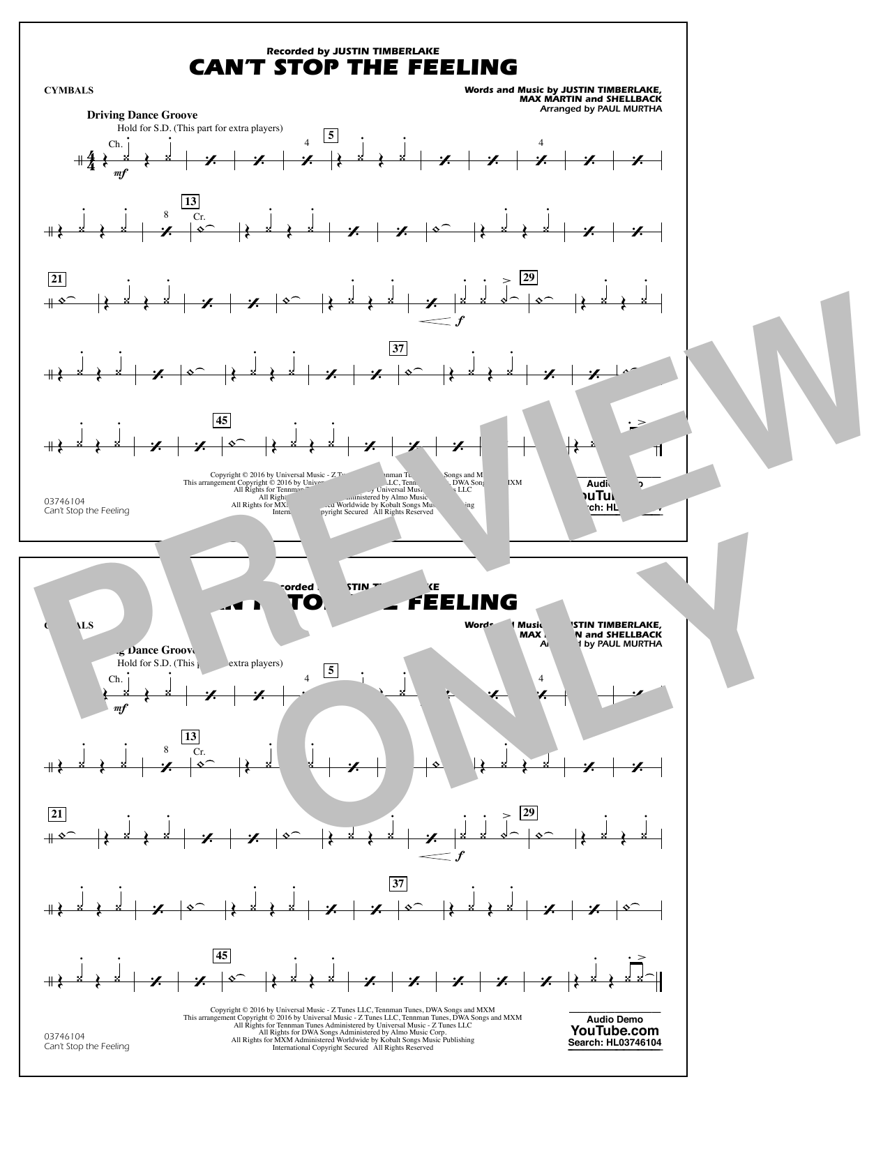 Can't Stop the Feeling (from Trolls) - Cymbals Sheet Music