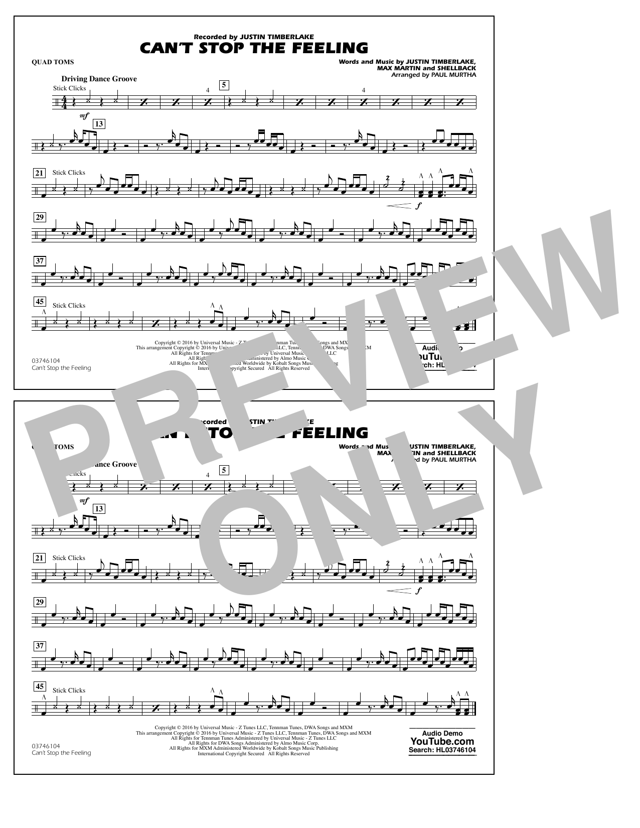 Can't Stop the Feeling (from Trolls) - Quad Toms Sheet Music