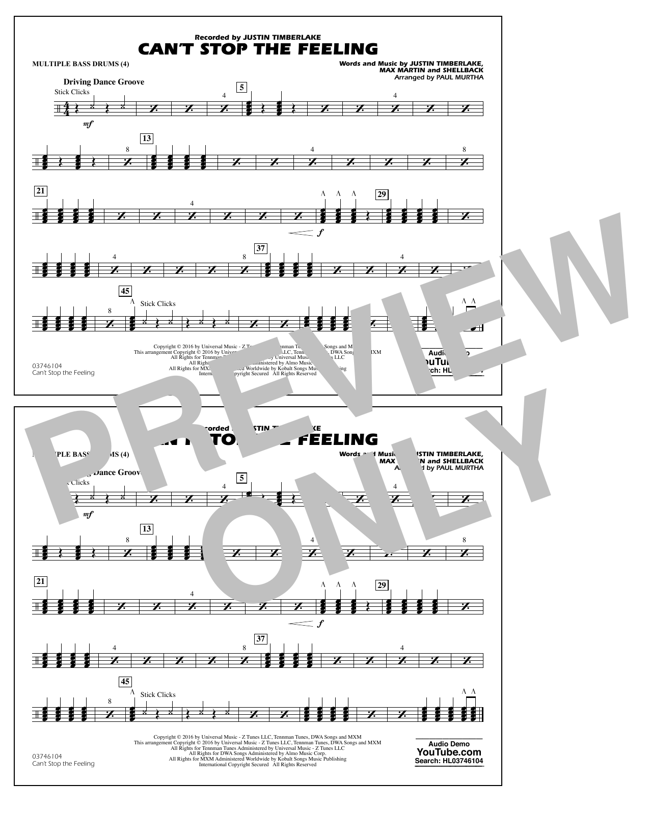 Can't Stop the Feeling (from Trolls) - Multiple Bass Drums Sheet Music