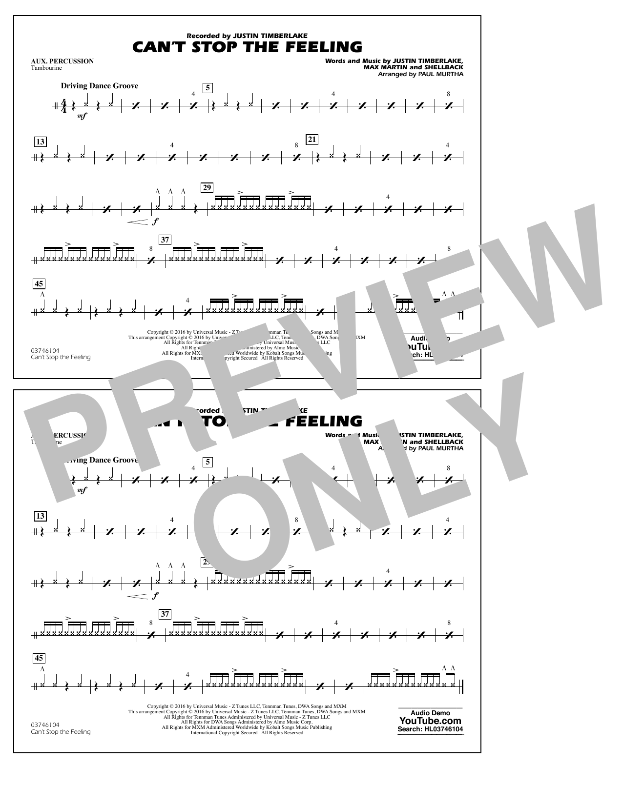 Can't Stop the Feeling (from Trolls) - Aux Percussion Sheet Music