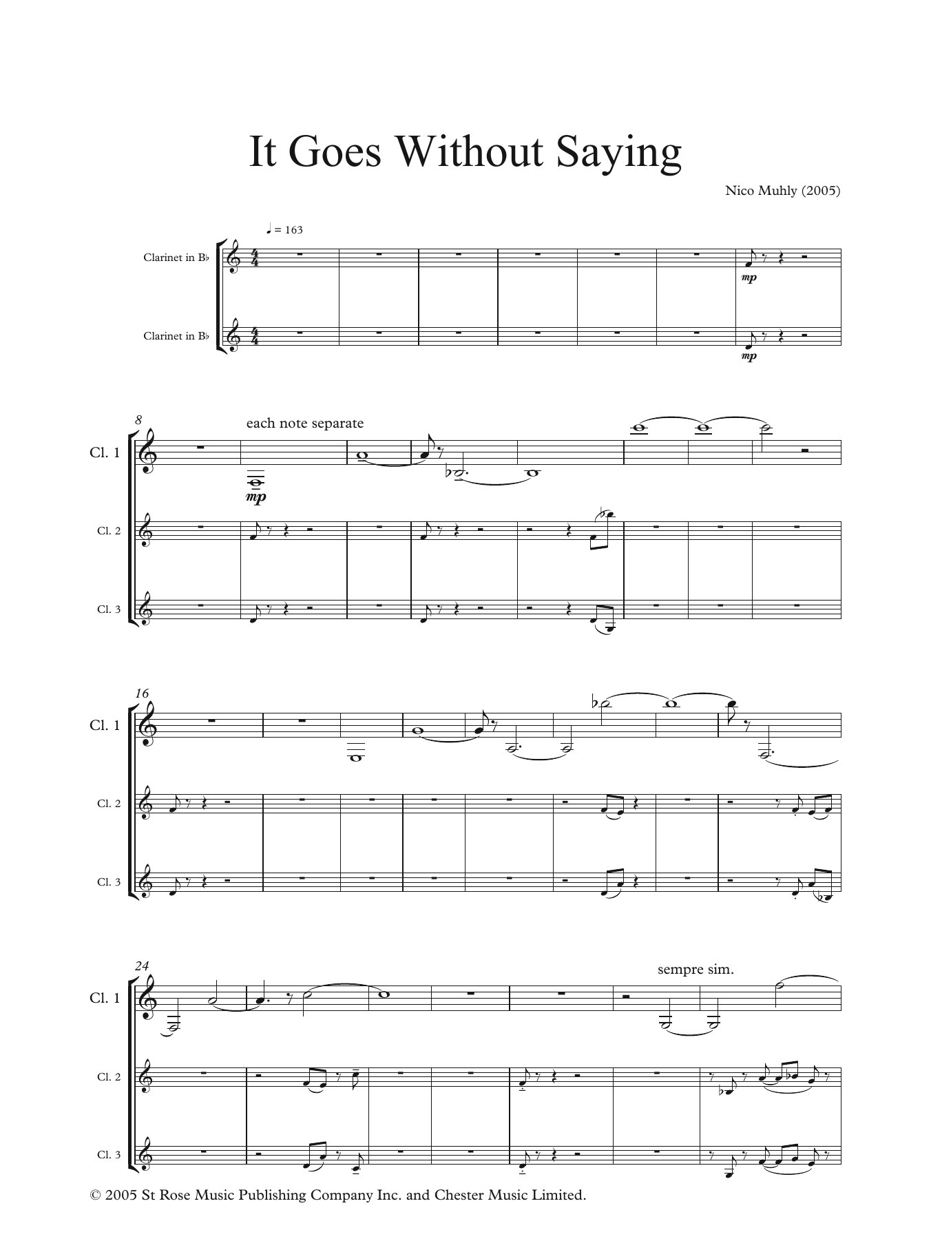 It Goes Without Saying (for clarinet and electronics) Sheet Music