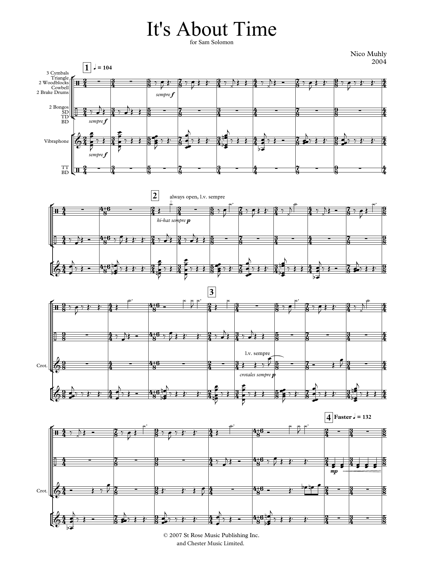 It's About Time (for solo percussion) Sheet Music