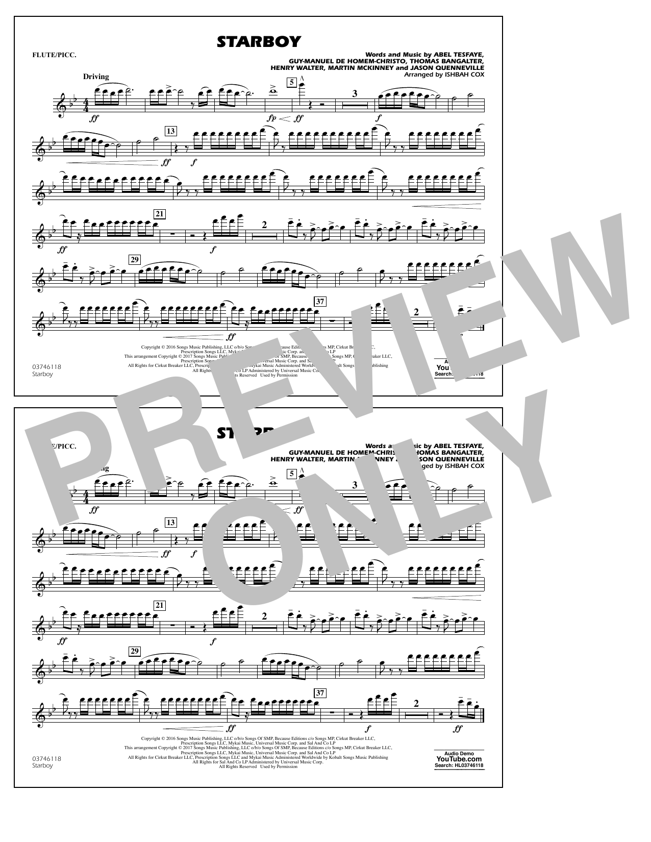 Starboy - Flute/Piccolo Sheet Music
