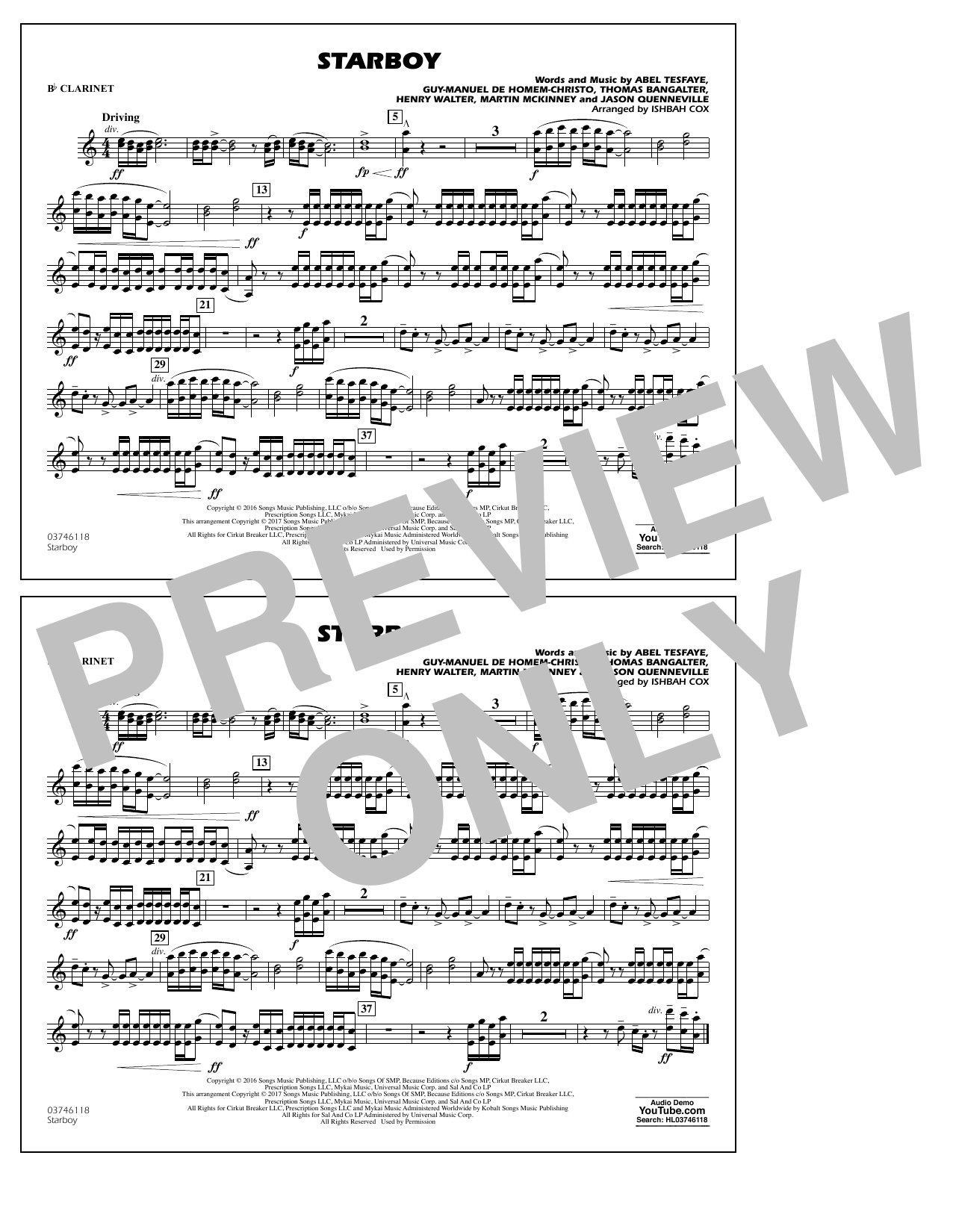 Starboy - Bb Clarinet Sheet Music