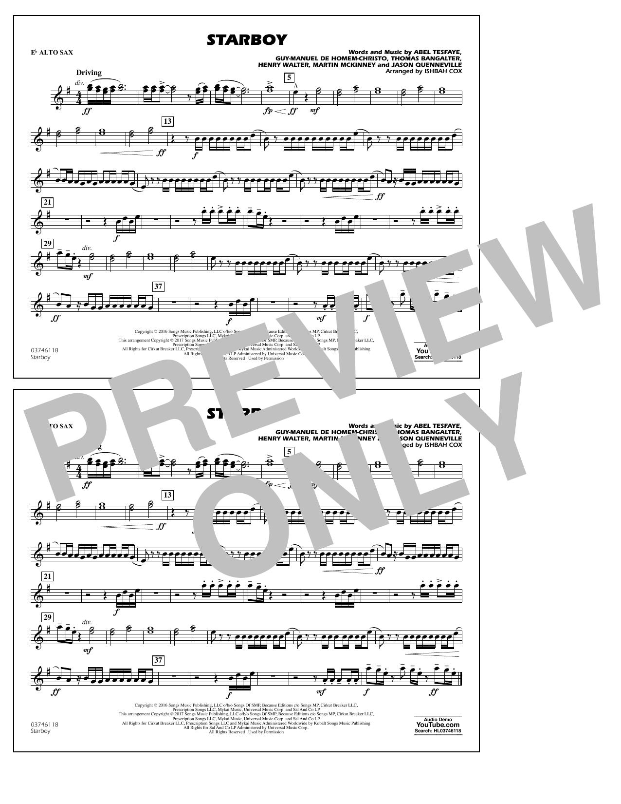 Starboy - Eb Alto Sax Sheet Music