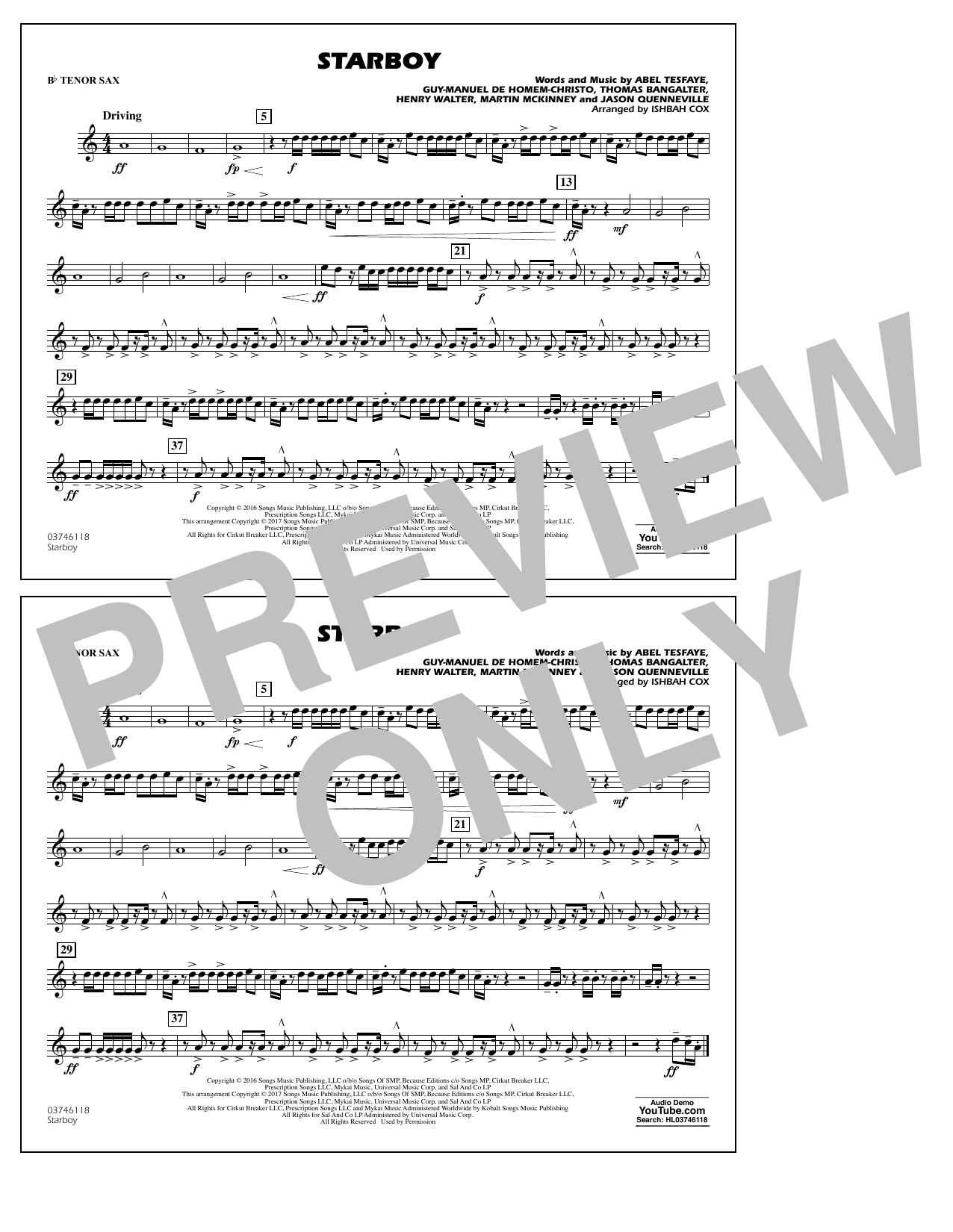 Starboy - Bb Tenor Sax Sheet Music