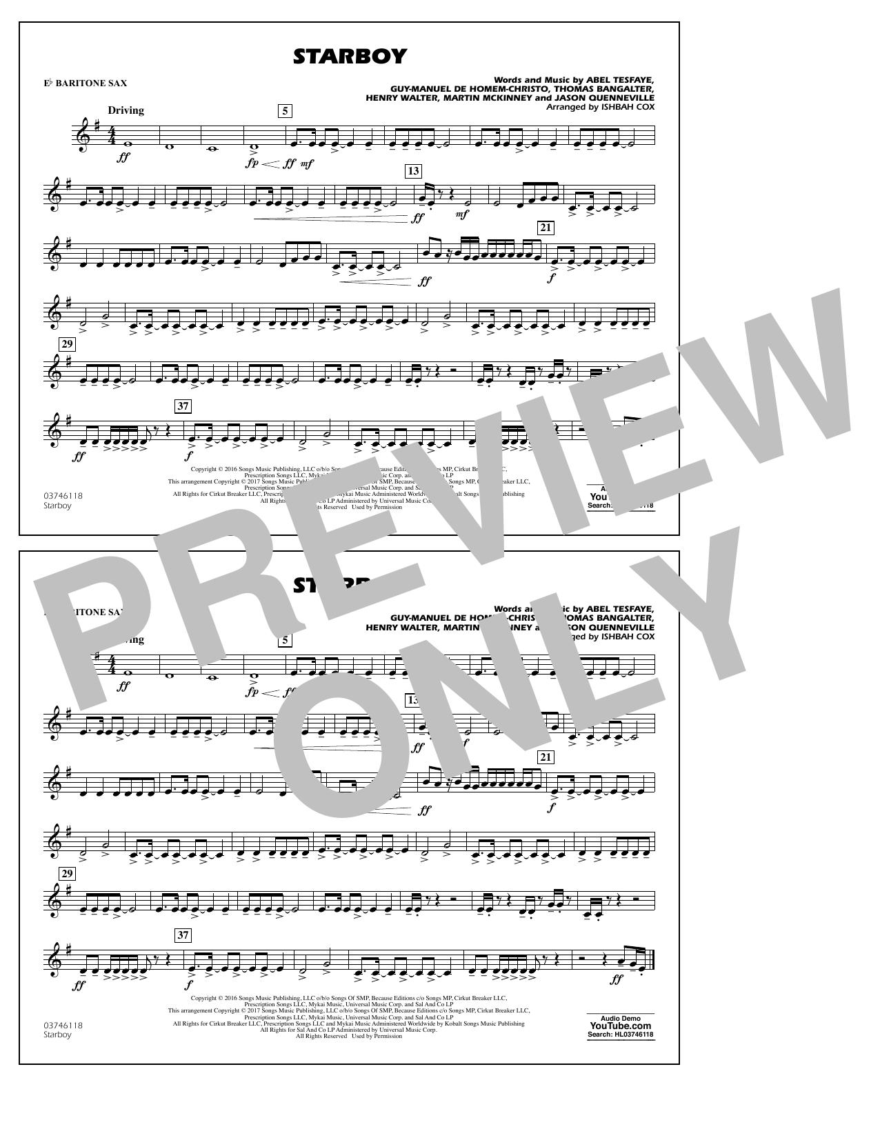 Starboy - Eb Baritone Sax Sheet Music