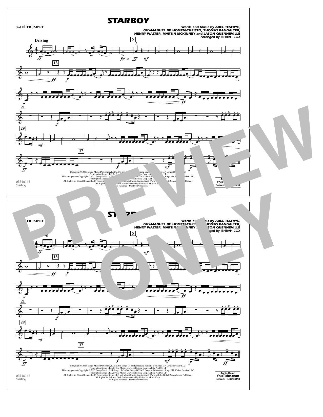 Starboy - 3rd Bb Trumpet Sheet Music