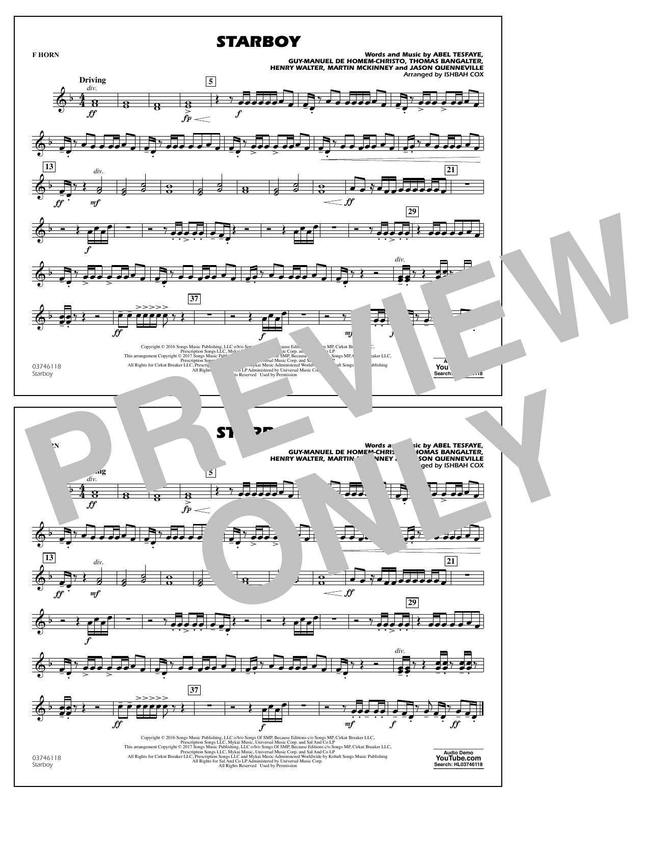 Starboy - F Horn Sheet Music