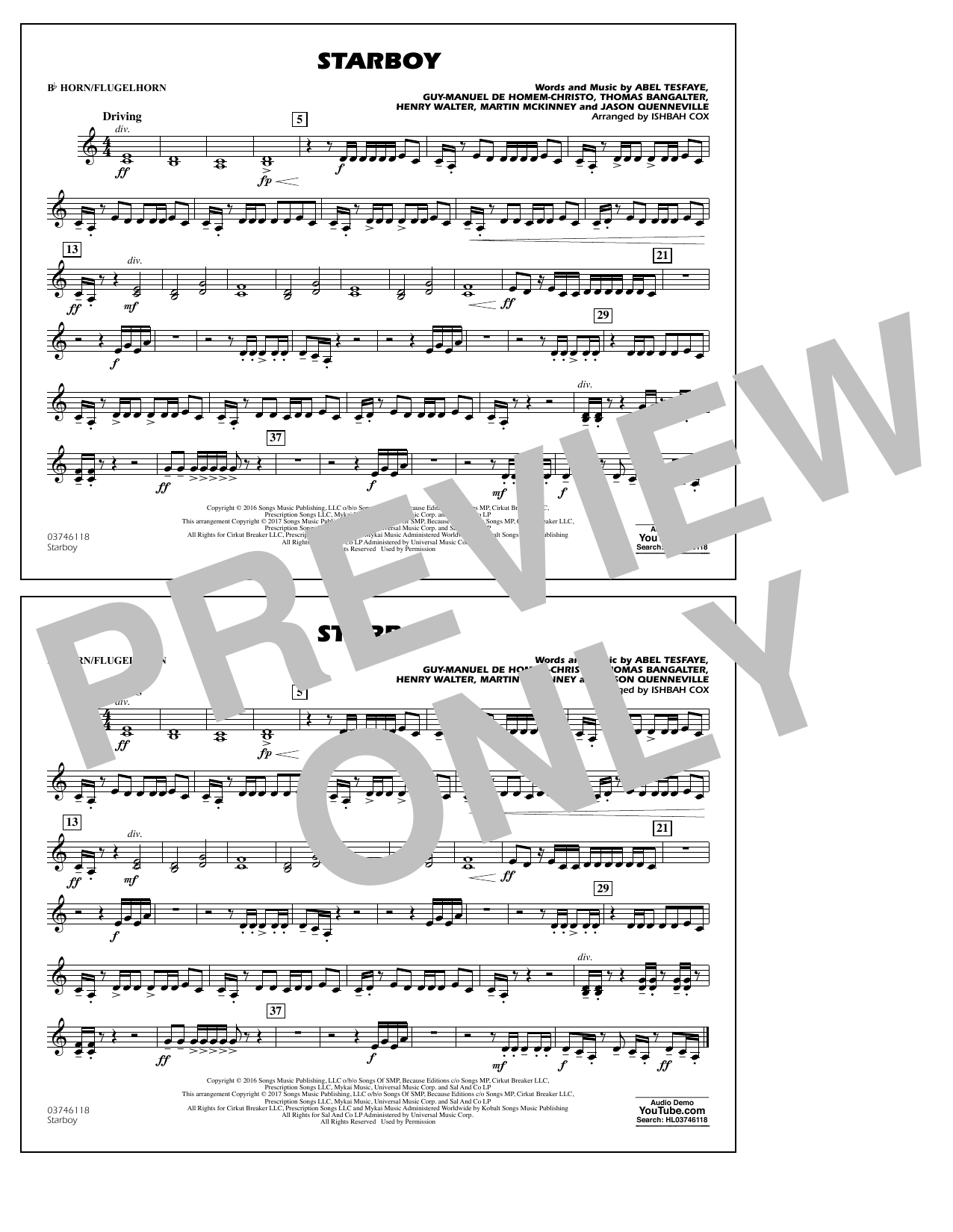 Starboy - Bb Horn/Flugelhorn Sheet Music