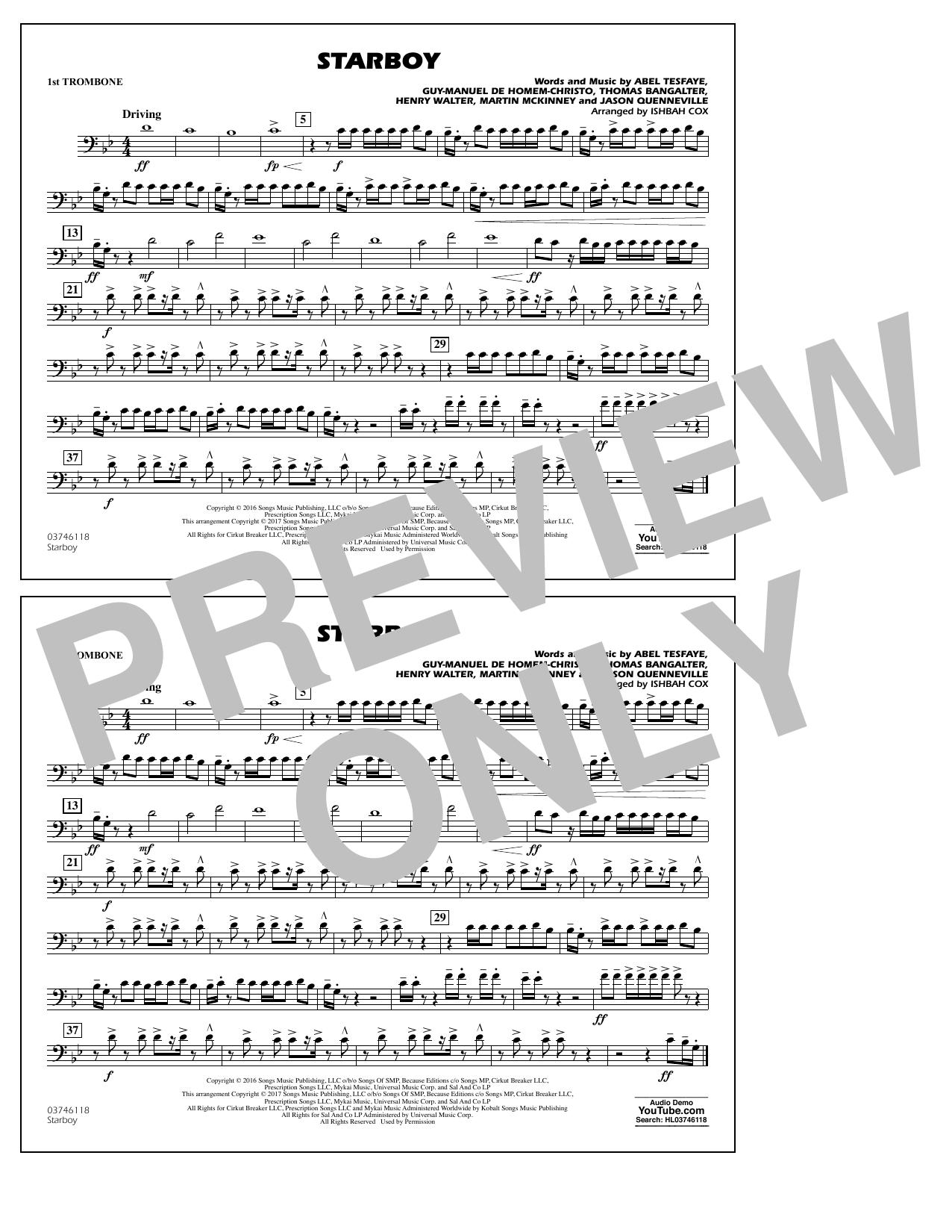 Starboy - 1st Trombone Sheet Music