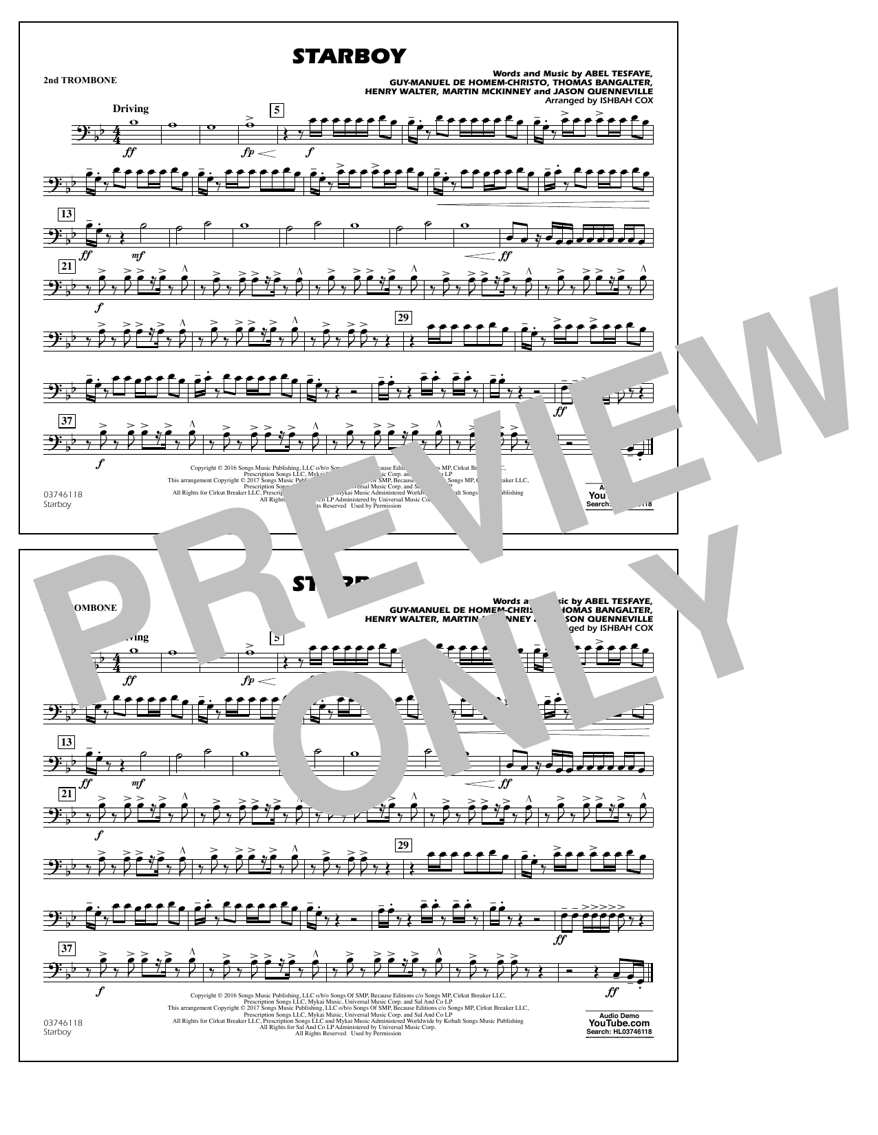 Starboy - 2nd Trombone Sheet Music