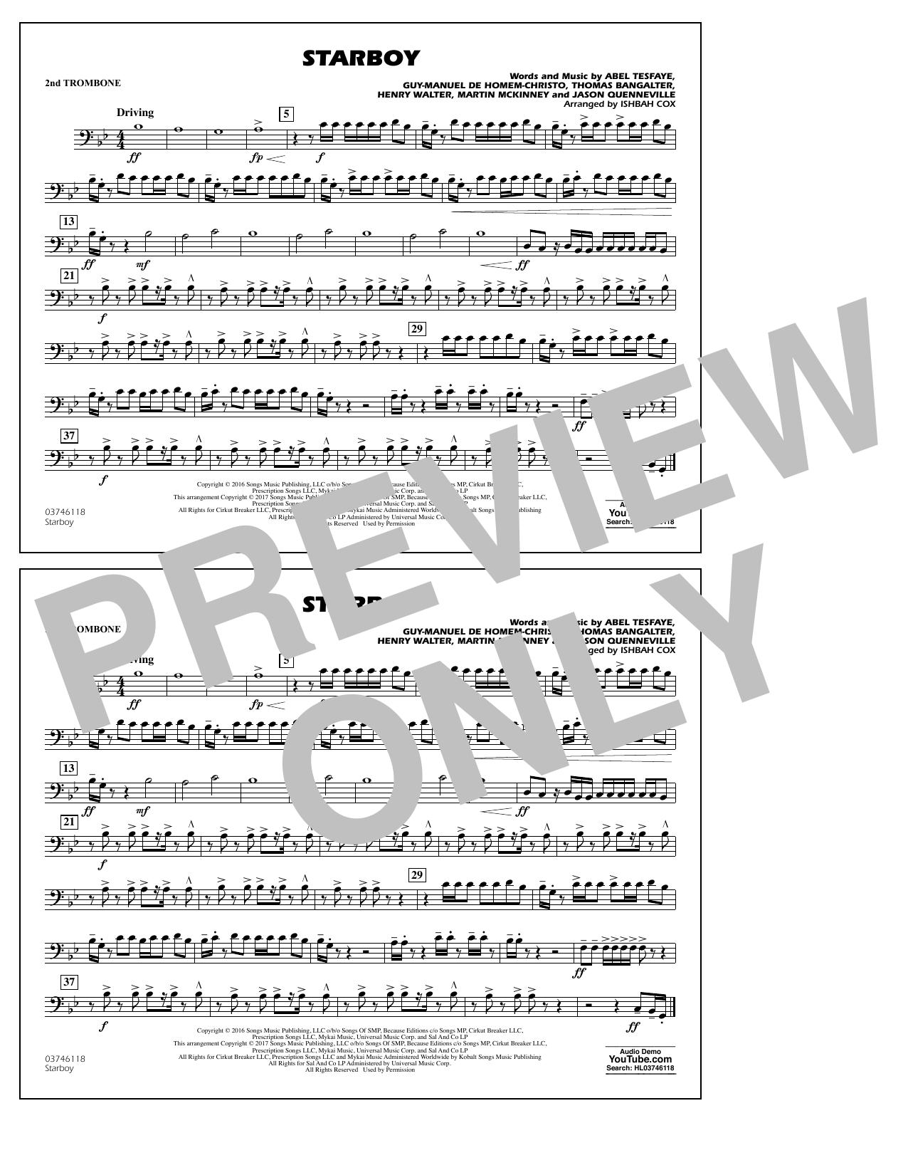 Starboy - 2nd Trombone Partituras Digitales