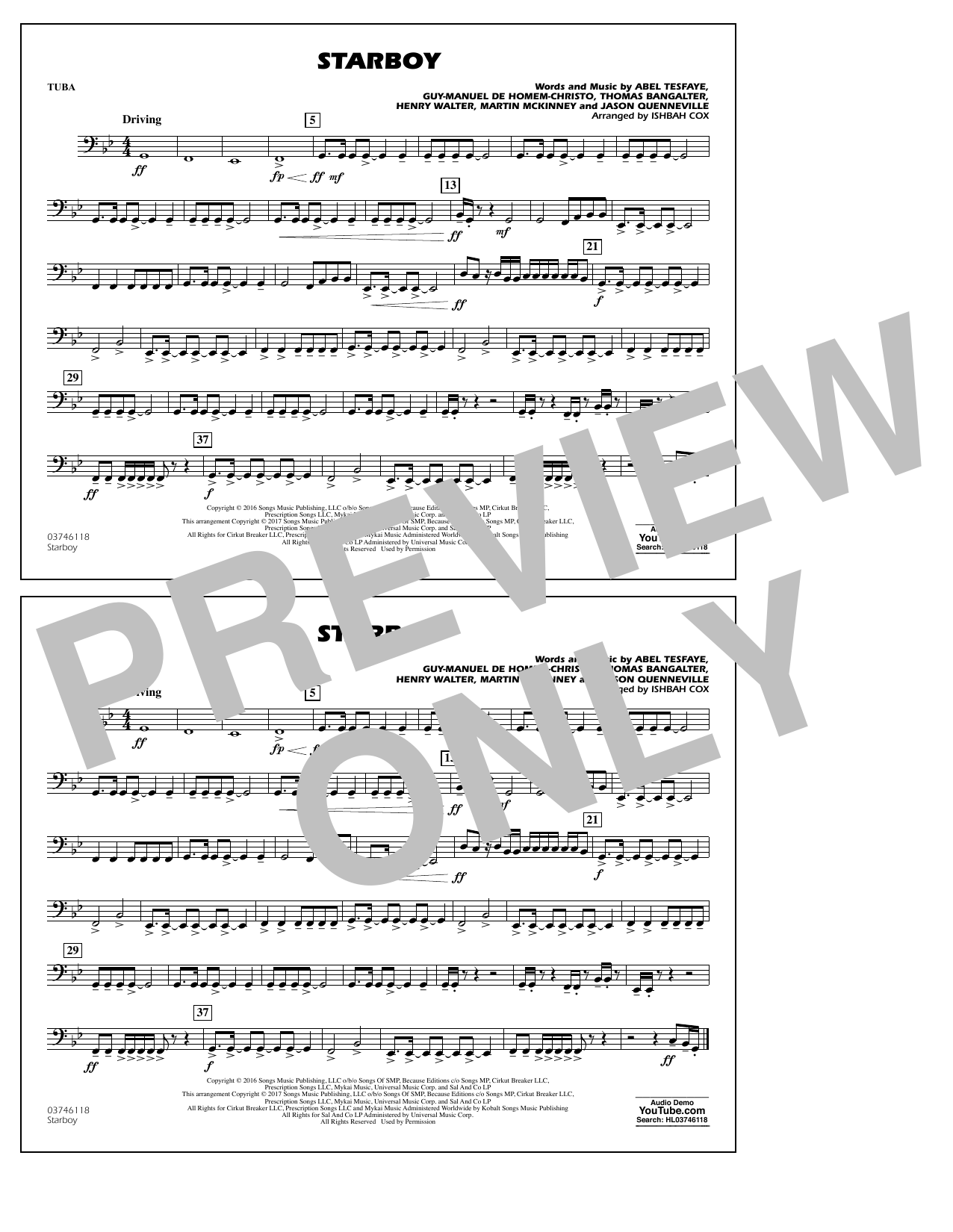 Starboy - Tuba Sheet Music