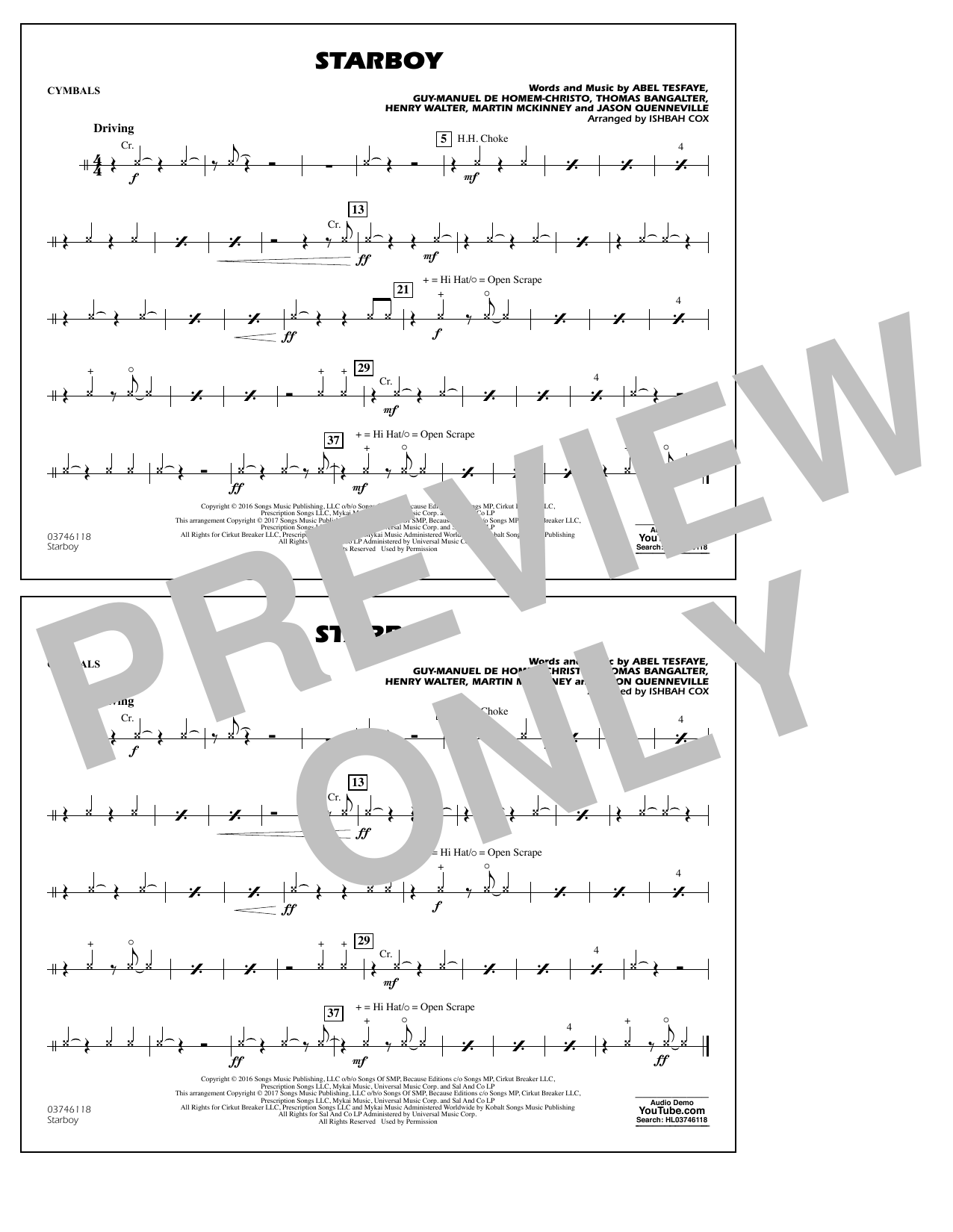Starboy - Cymbals Sheet Music
