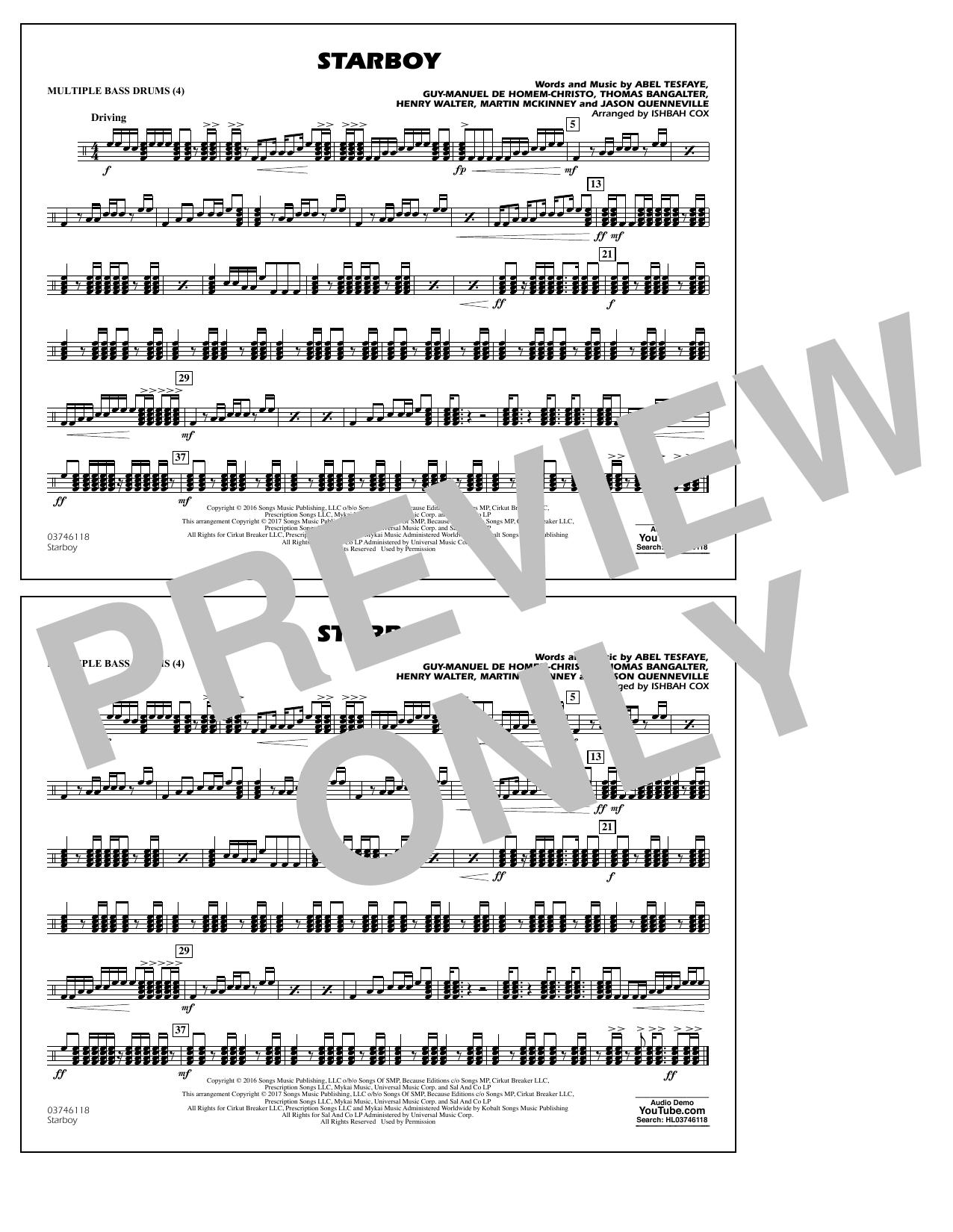 Starboy - Multiple Bass Drums Sheet Music