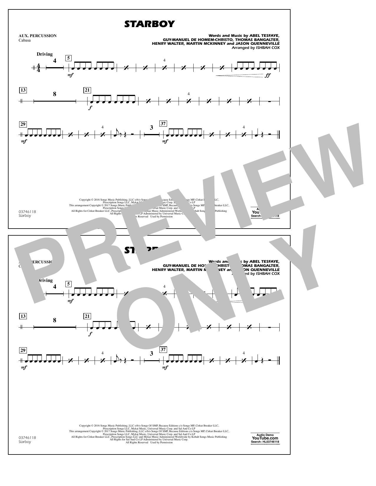 Starboy - Aux Percussion Sheet Music