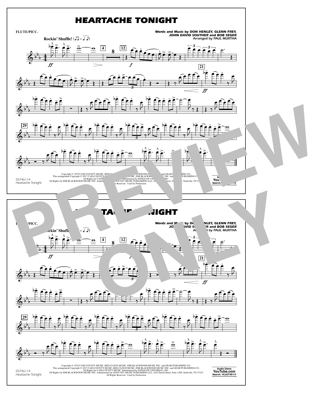 Heartache Tonight - Flute/Piccolo Sheet Music