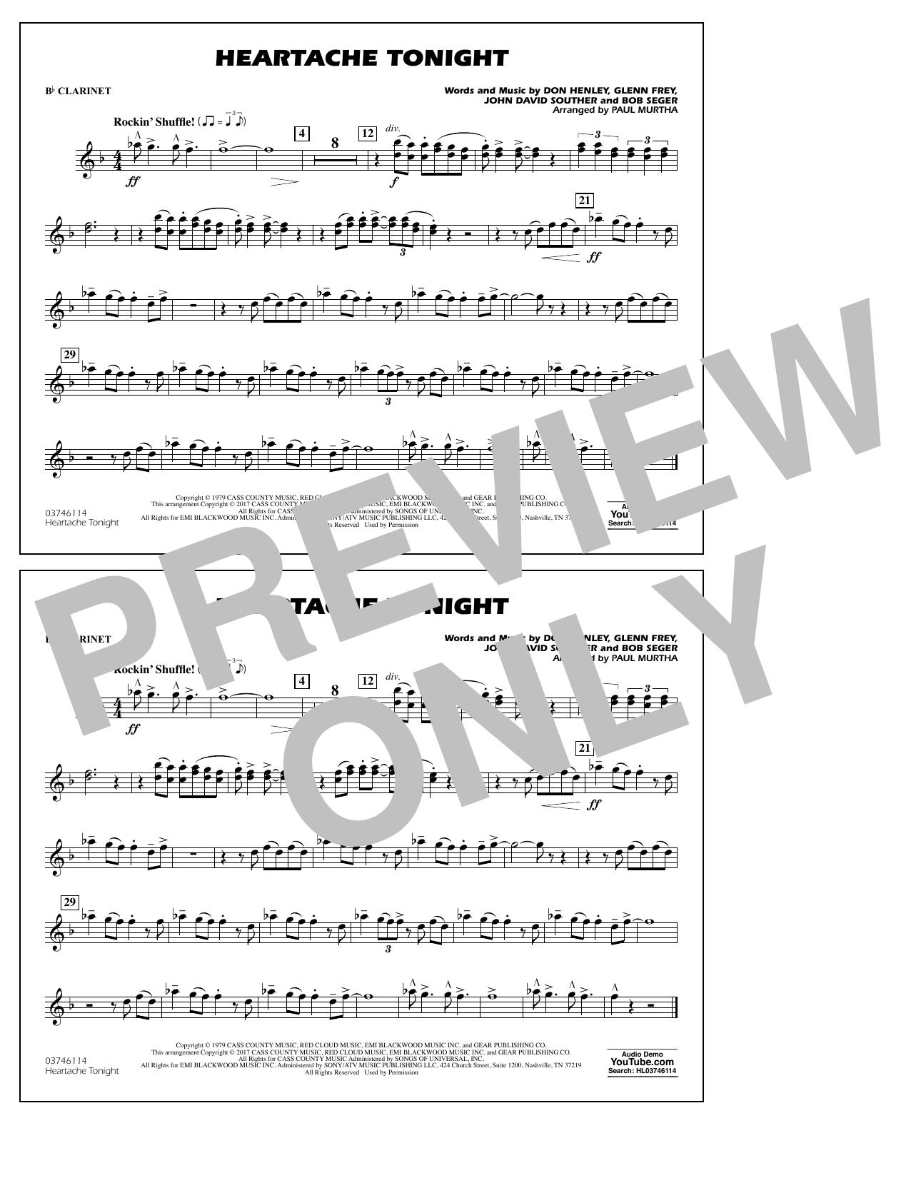 Heartache Tonight - Bb Clarinet Sheet Music