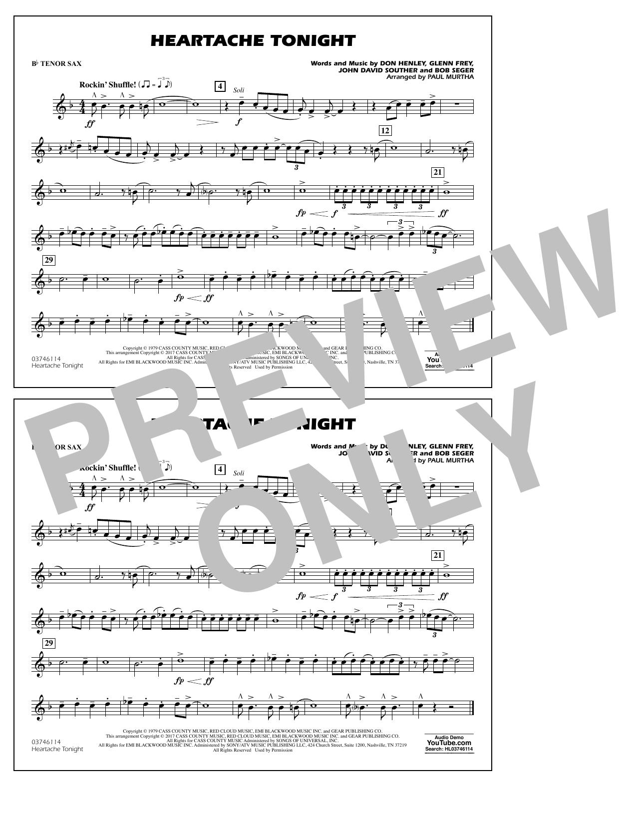 Heartache Tonight - Bb Tenor Sax Sheet Music