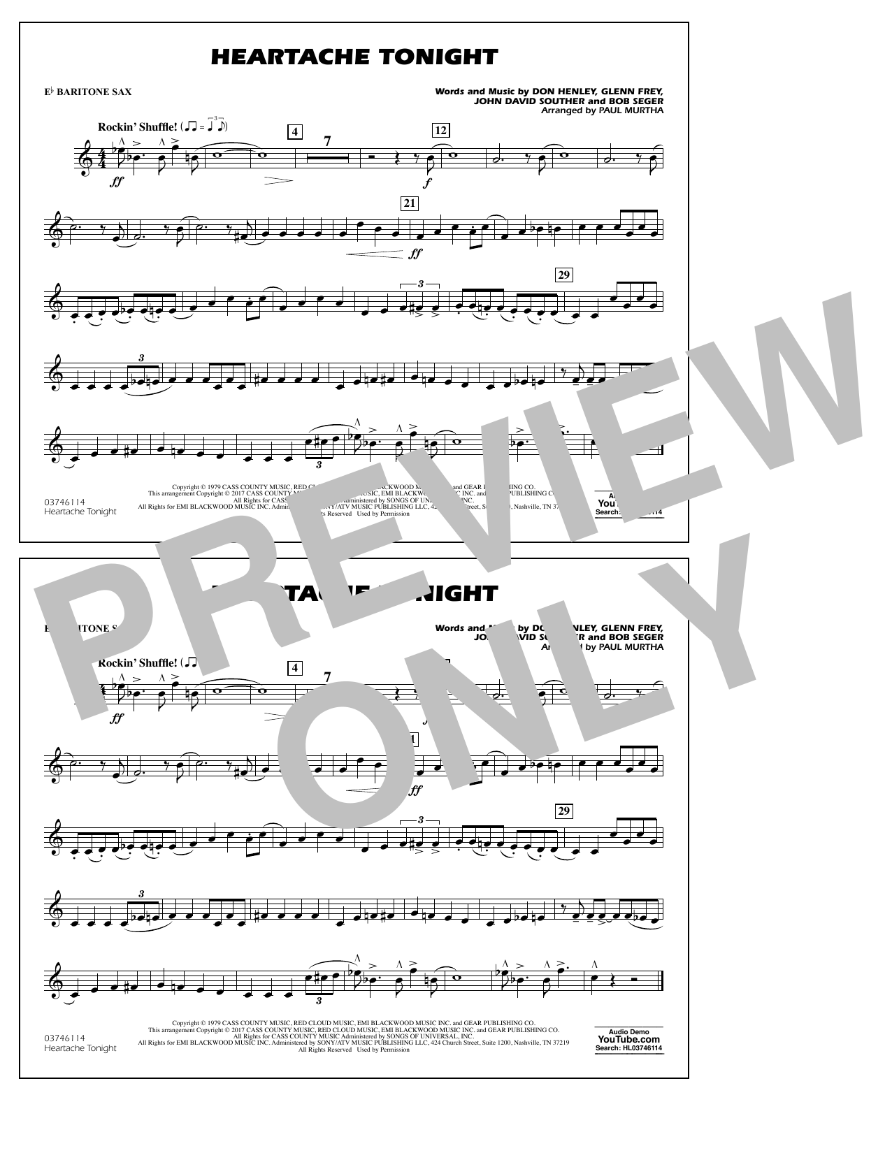 Heartache Tonight - Eb Baritone Sax Sheet Music
