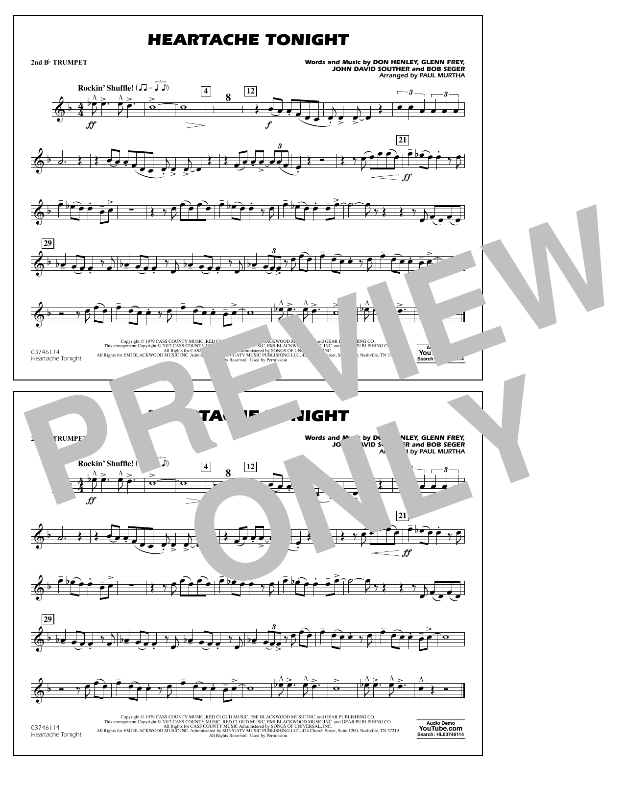 Heartache Tonight - 2nd Bb Trumpet Sheet Music