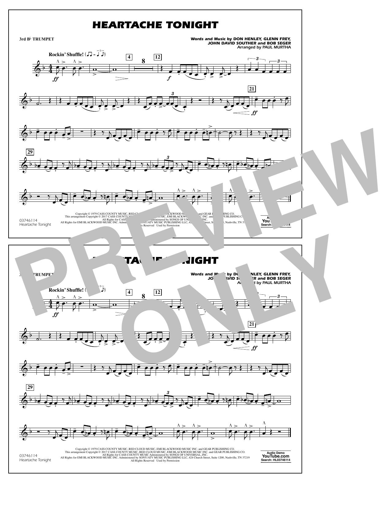 Heartache Tonight - 3rd Bb Trumpet Sheet Music