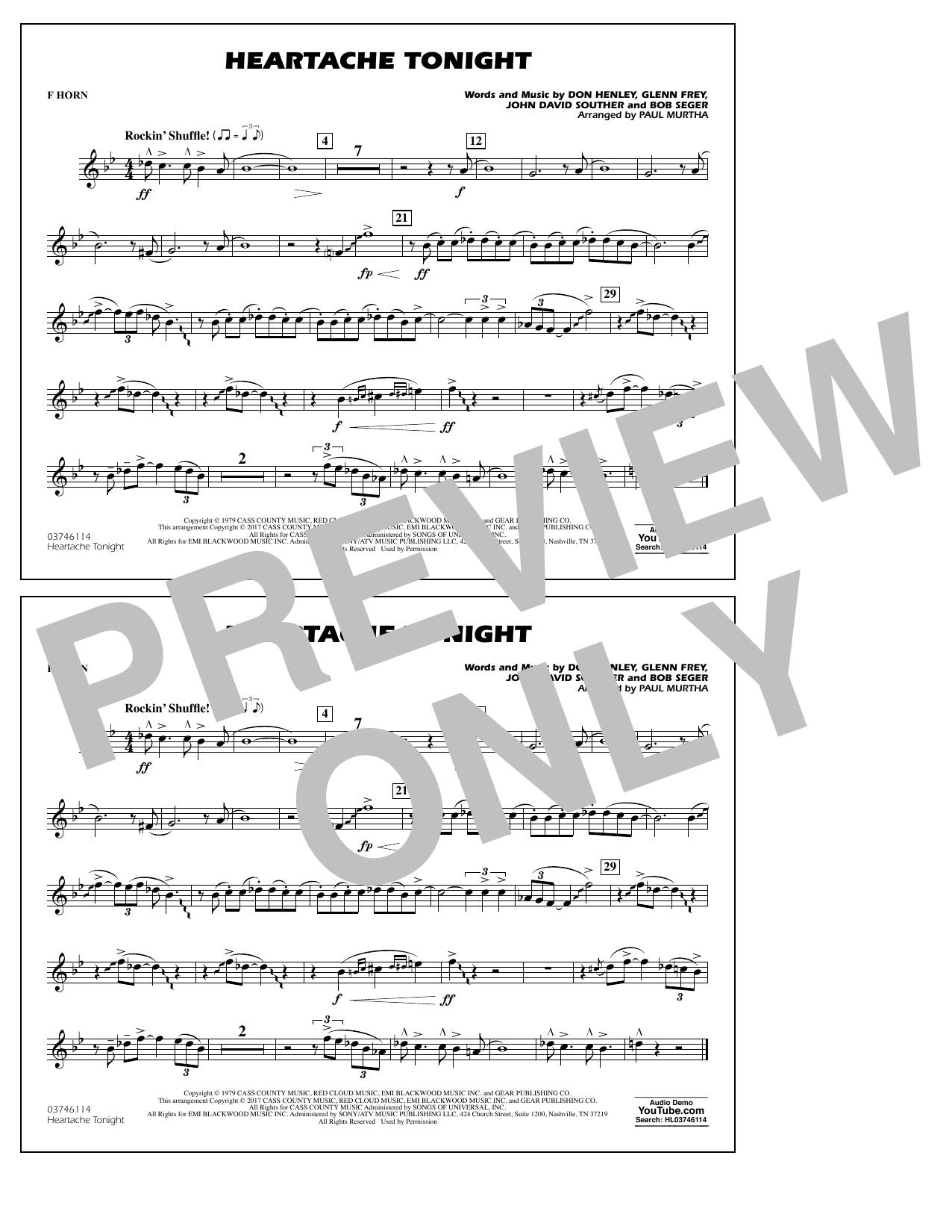 Heartache Tonight - F Horn Sheet Music