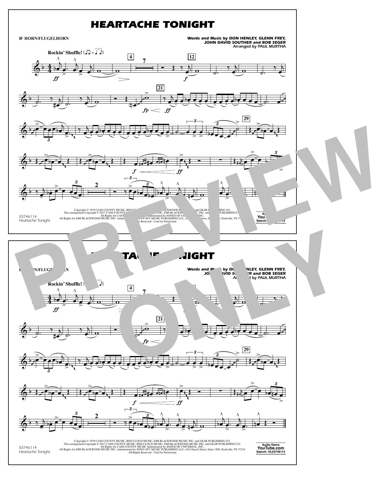 Heartache Tonight - Bb Horn/Flugelhorn Sheet Music
