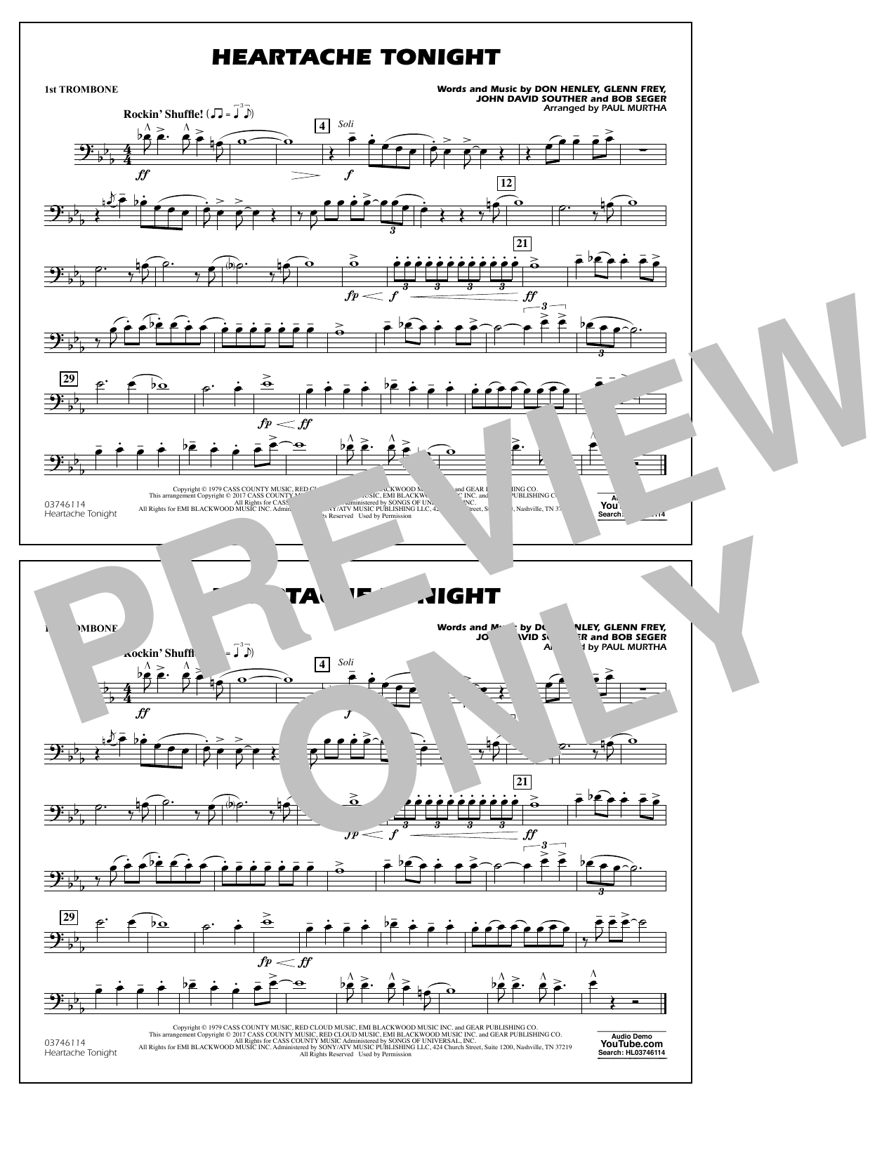 Heartache Tonight - 1st Trombone Sheet Music