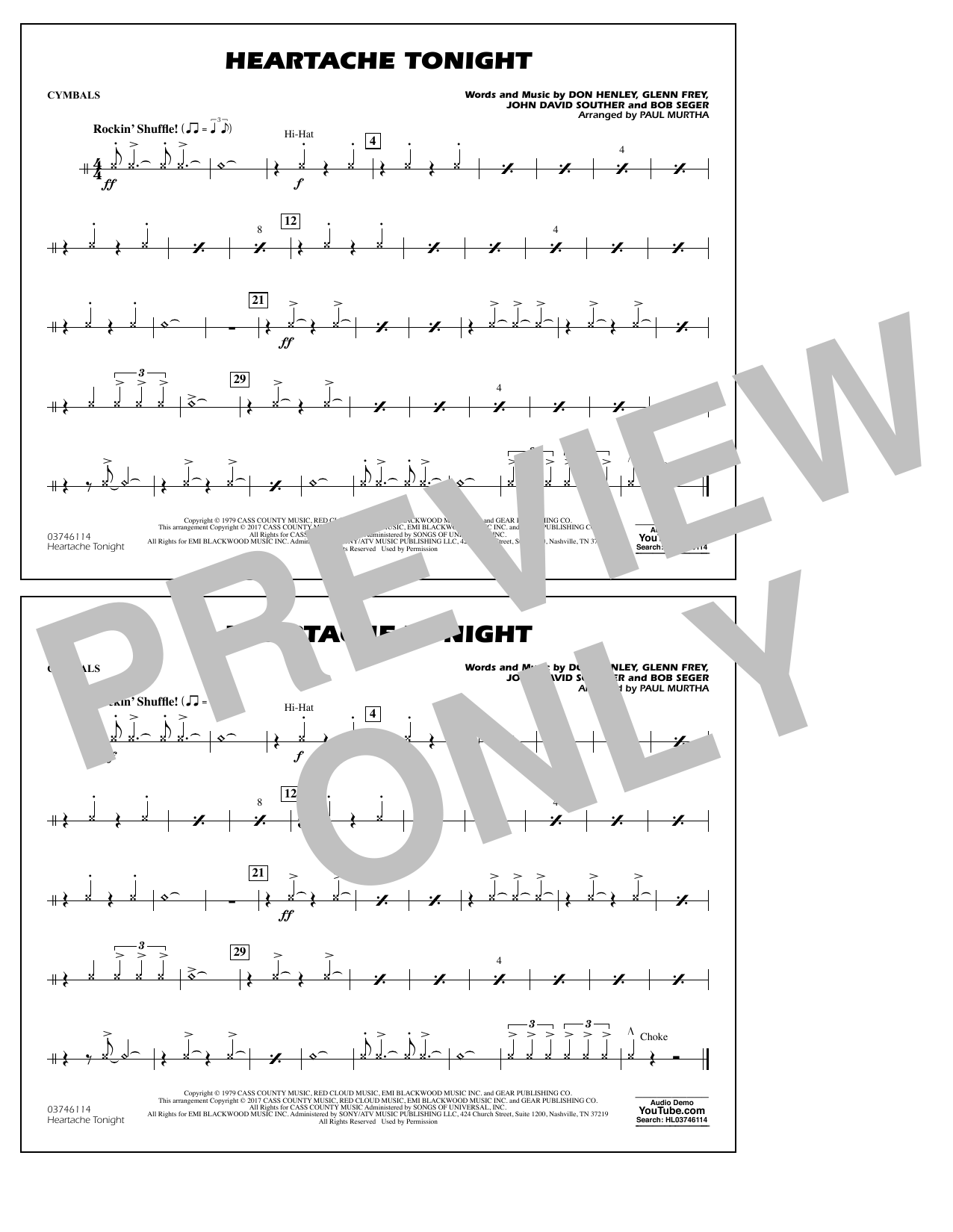Heartache Tonight - Cymbals Sheet Music