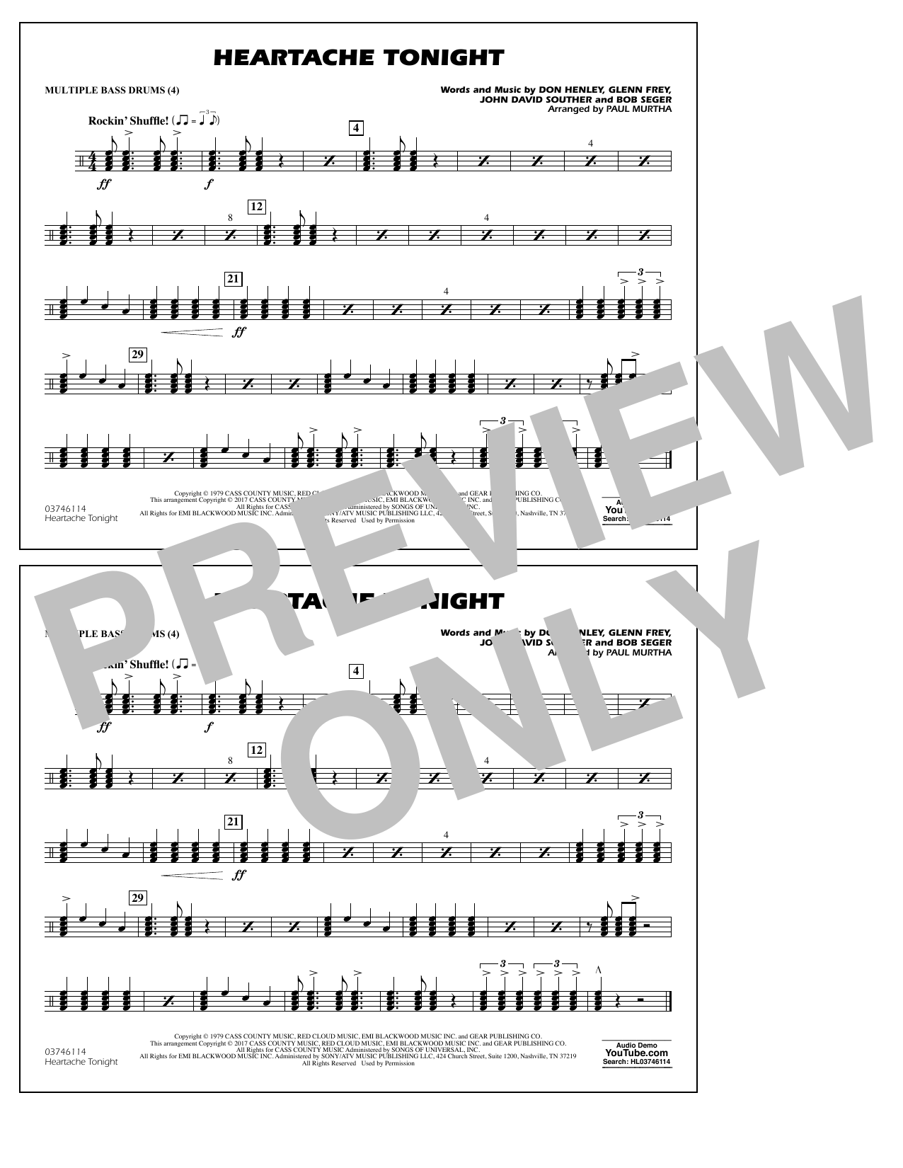 Heartache Tonight - Multiple Bass Drums Sheet Music