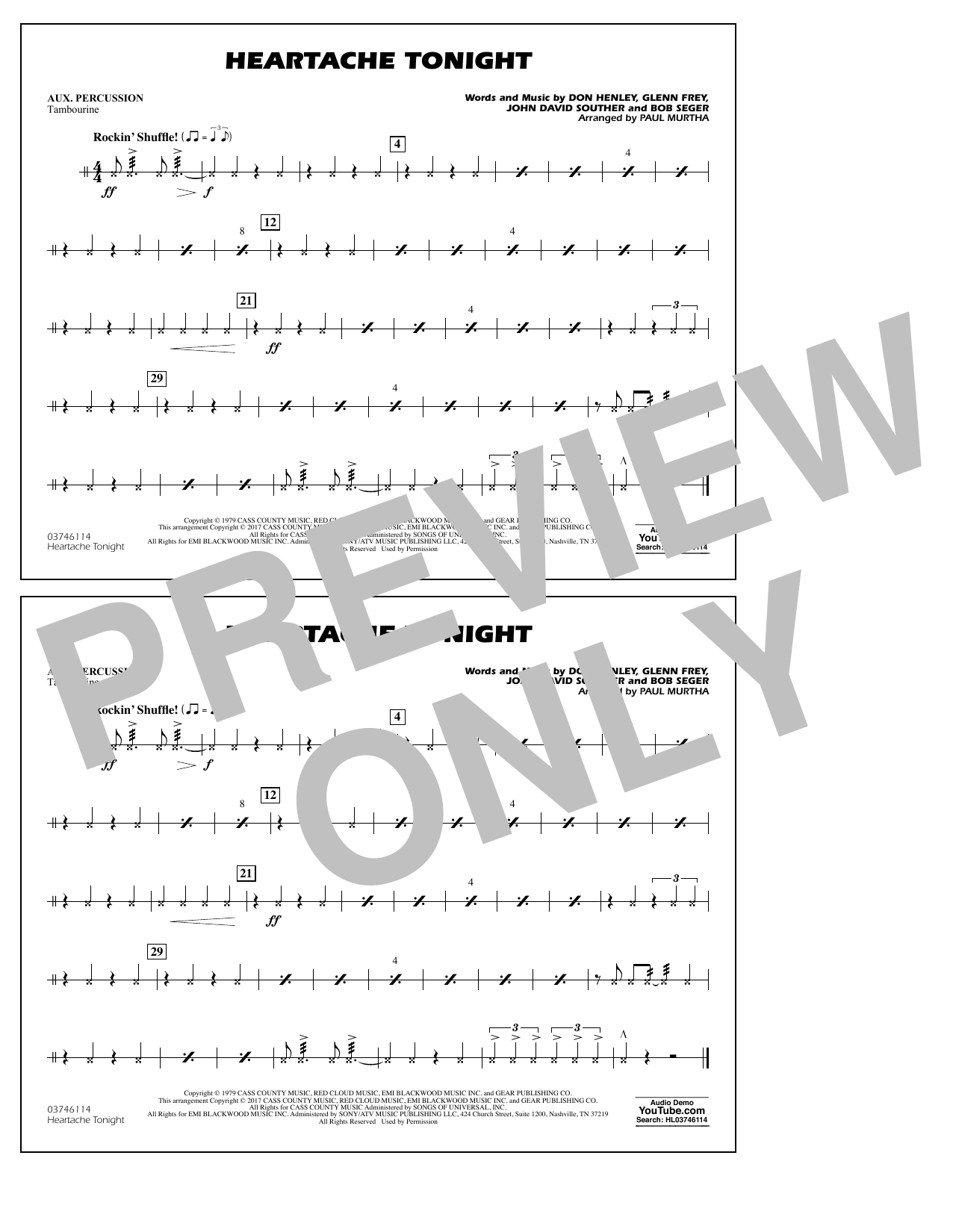 Heartache Tonight - Aux Percussion Sheet Music